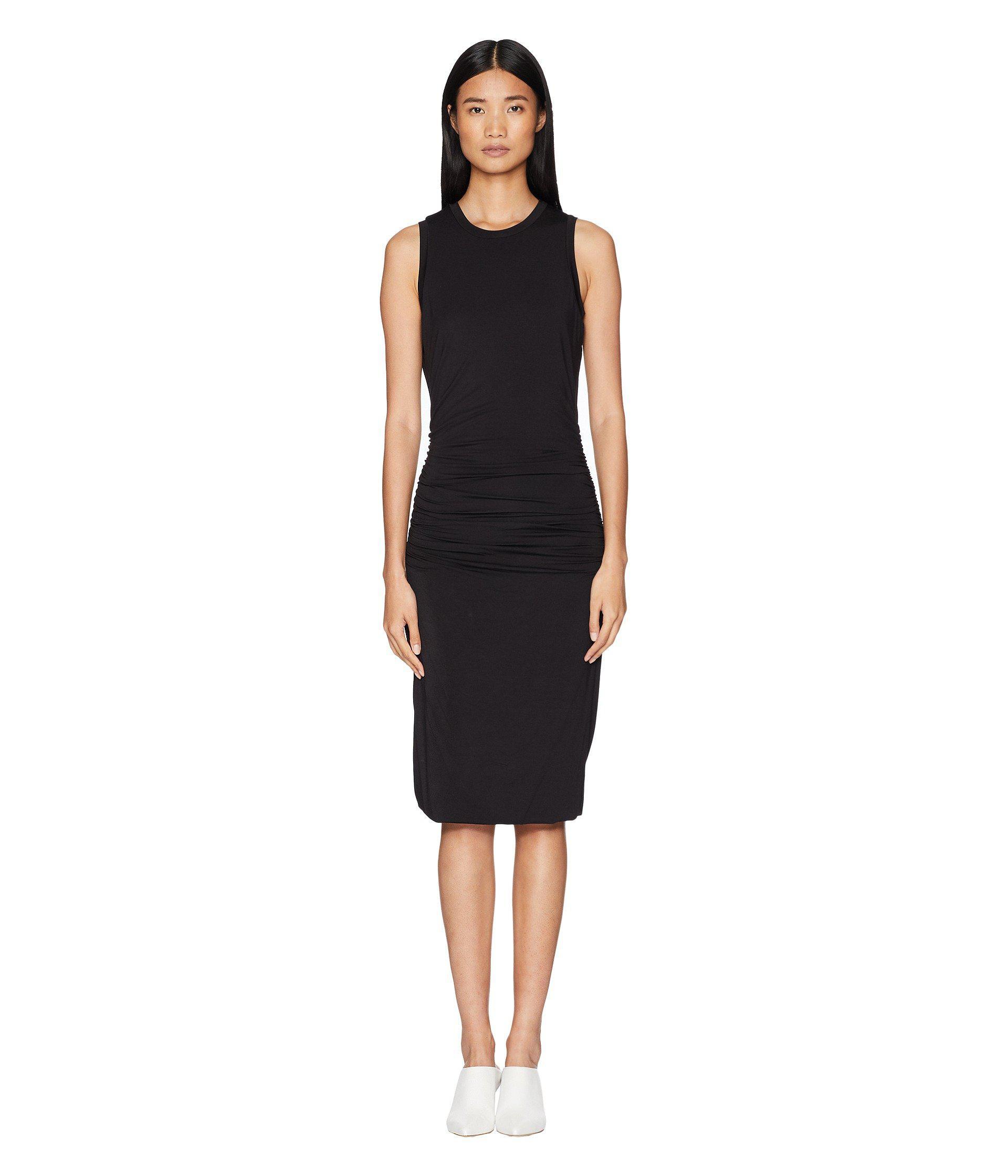 8b34339bf2c Halston. Women s Black Sleeveless Scoop Neck Ruched Midi Jersey Dress