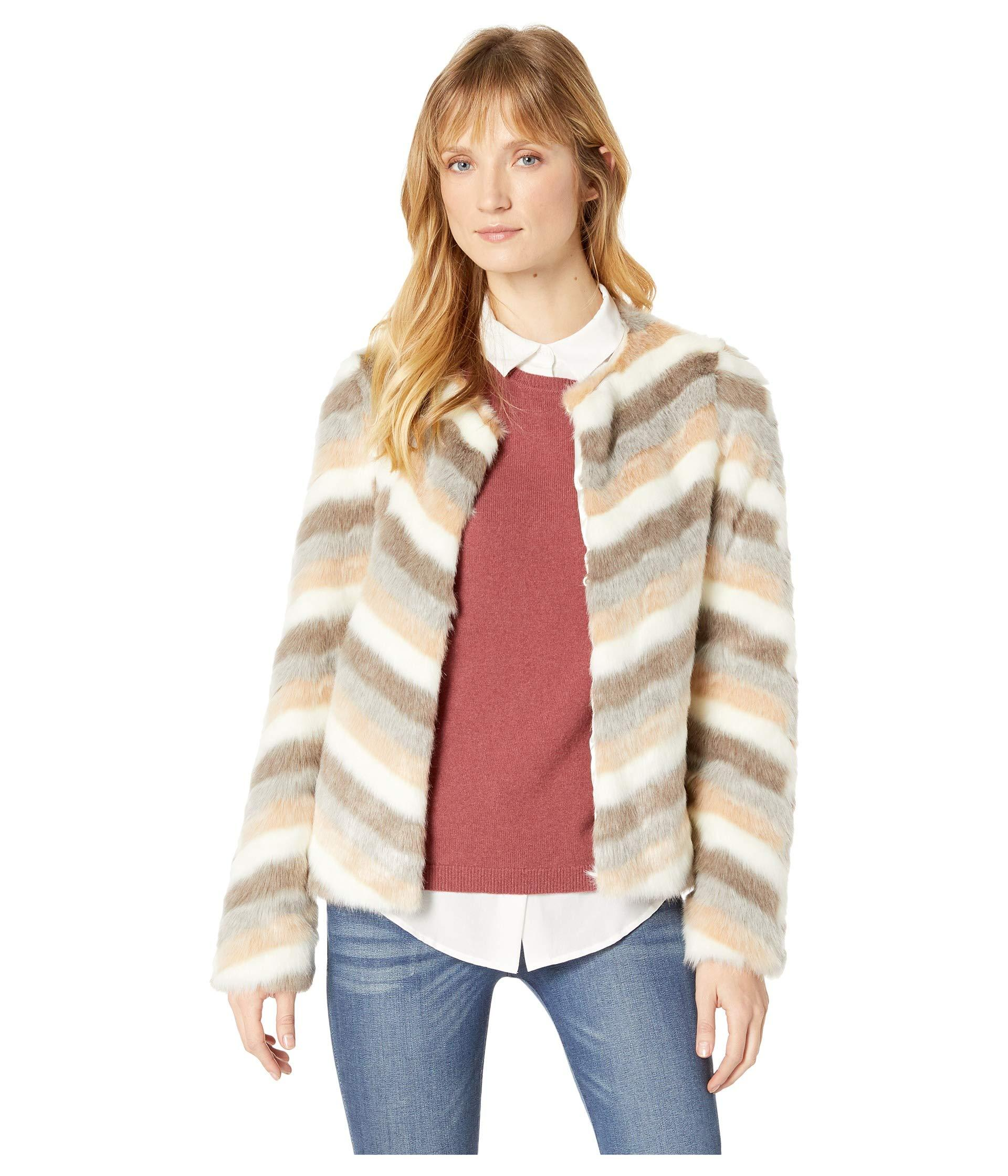 70c1c9f33018 Lyst - Calvin Klein Chevron Faux Fur Jacket in Natural - Save 39%