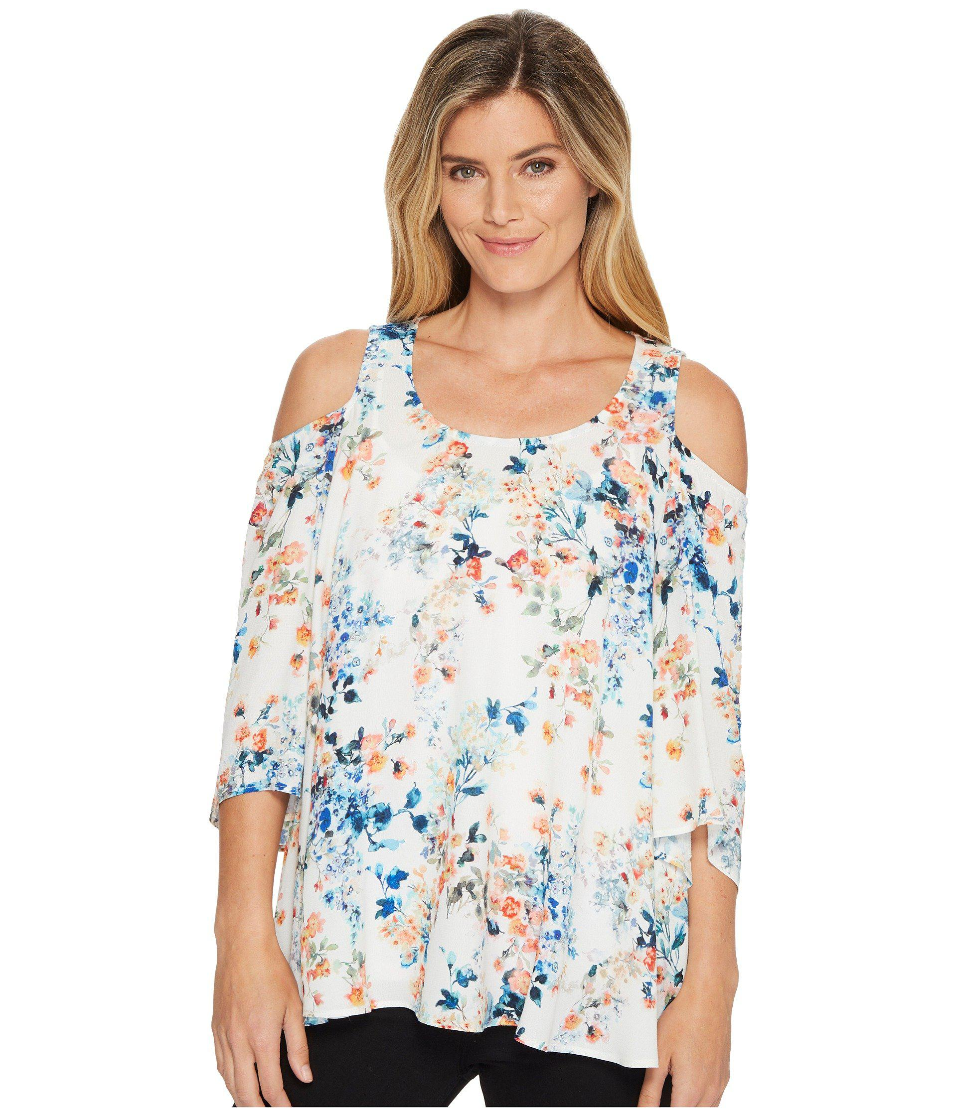 93333b7f6396a Lyst - Karen Kane Cold Shoulder Flare Sleeve Top in Blue - Save 49%