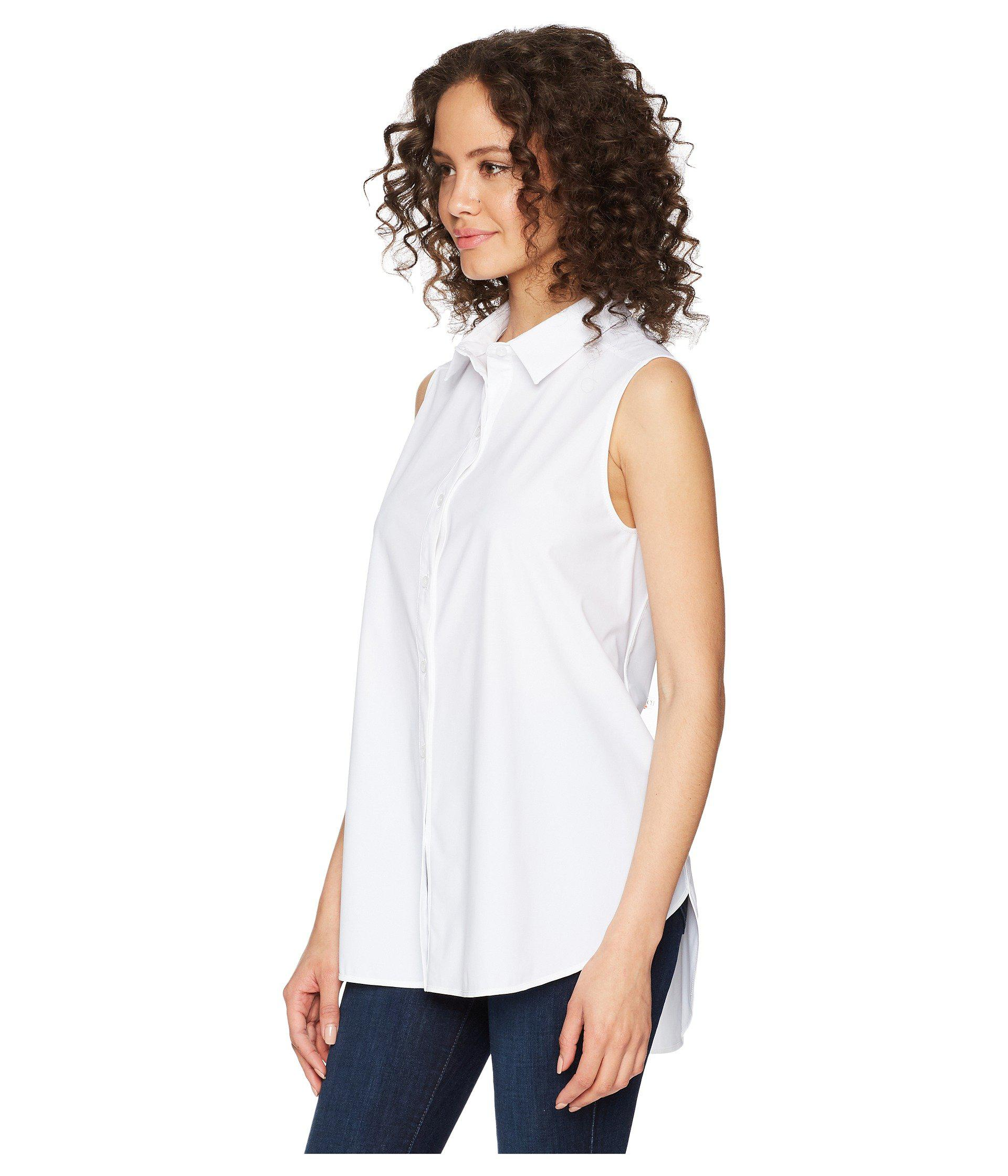 bbd0120ebf19e Lyst - Lyssé June Button Down Sleeveless Top in White