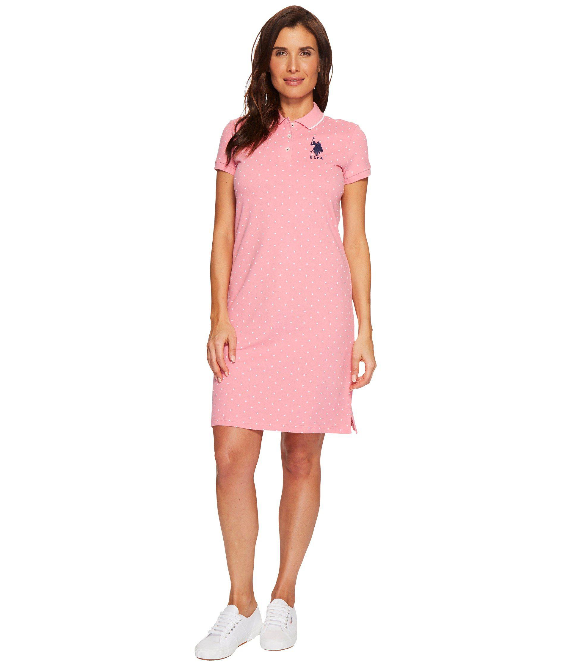 69a66765eb01 Lyst - U.S. POLO ASSN. Stretch Pique Printed Polo Dress in Pink