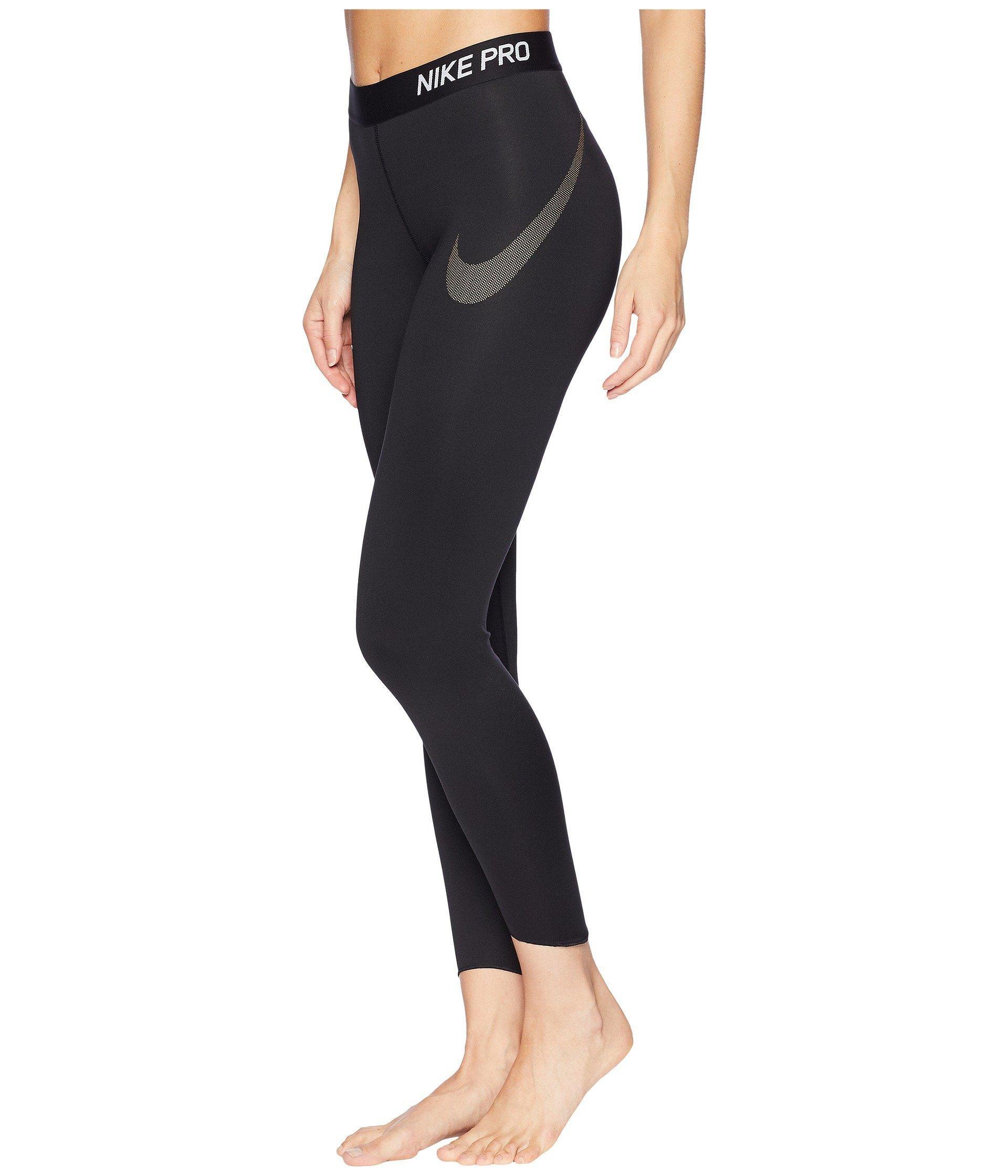 7a24b11ecf5927 Nike Pro Metallic Graphic 7/8 Crop Tights in Black - Lyst