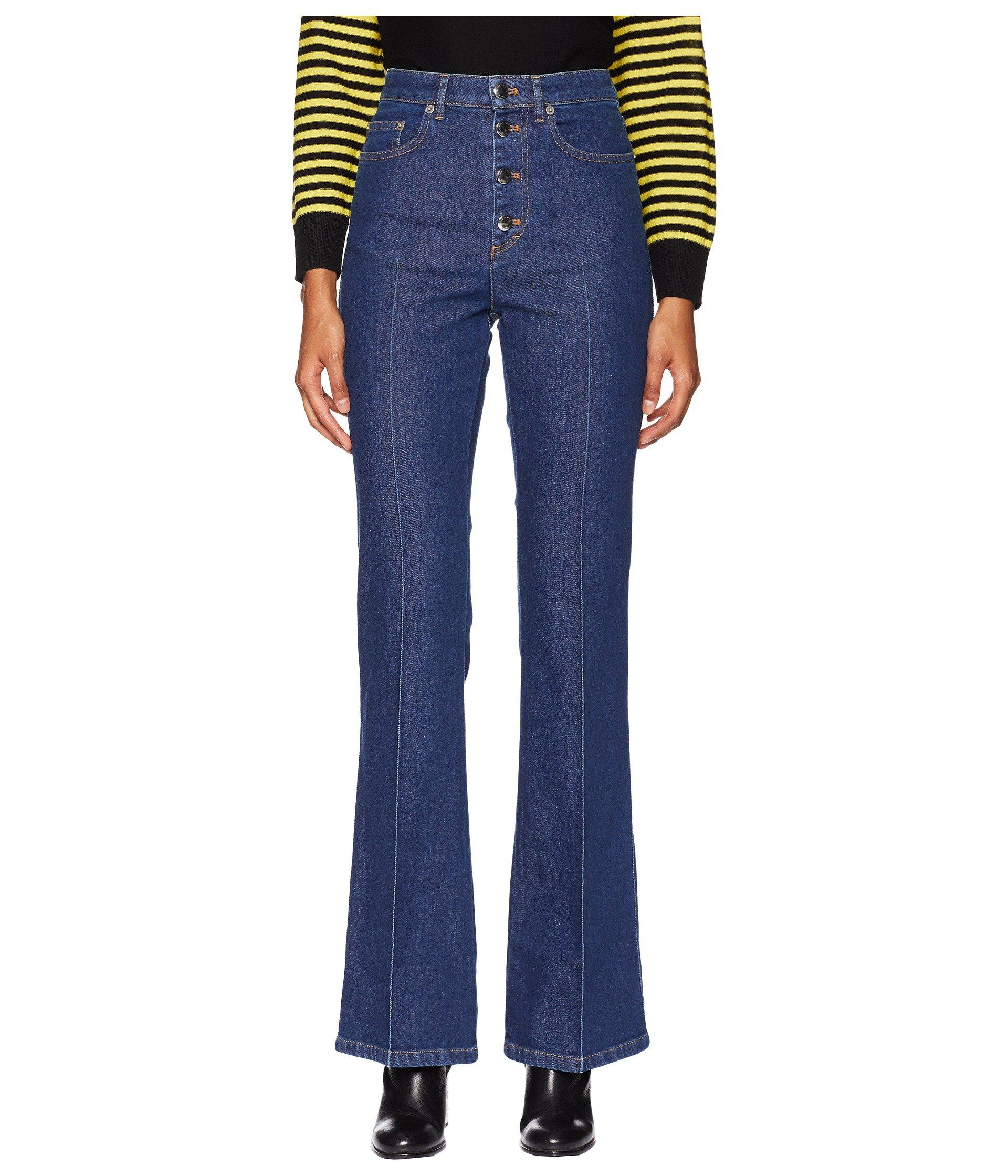 8fd6b51c4d Lyst - Sonia Rykiel Stretch High-waisted Button Up Flare Jeans in Blue