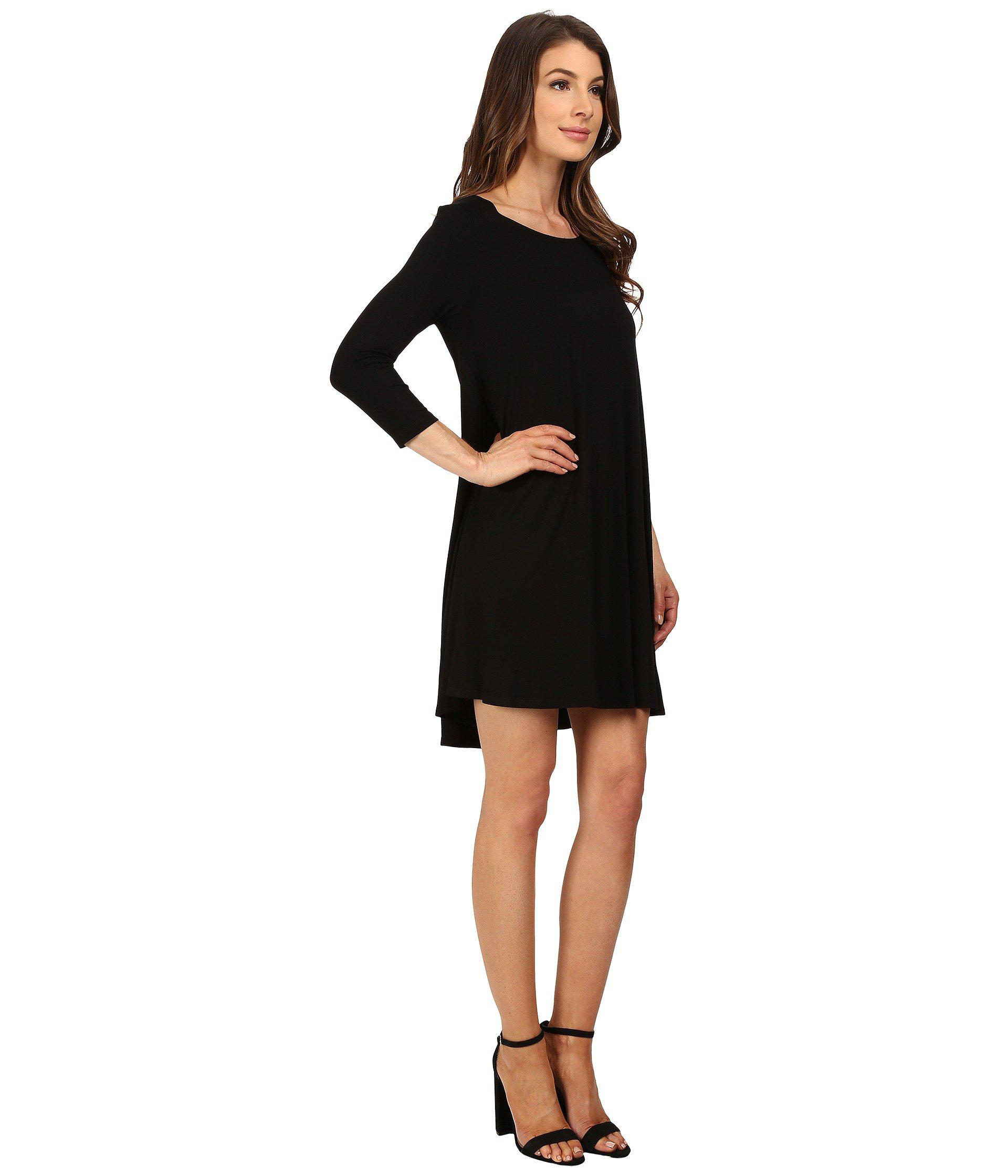 b834ea515be Lyst - Karen Kane 3 4 Sleeve Maggie Trapeze Dress in Black - Save 25%