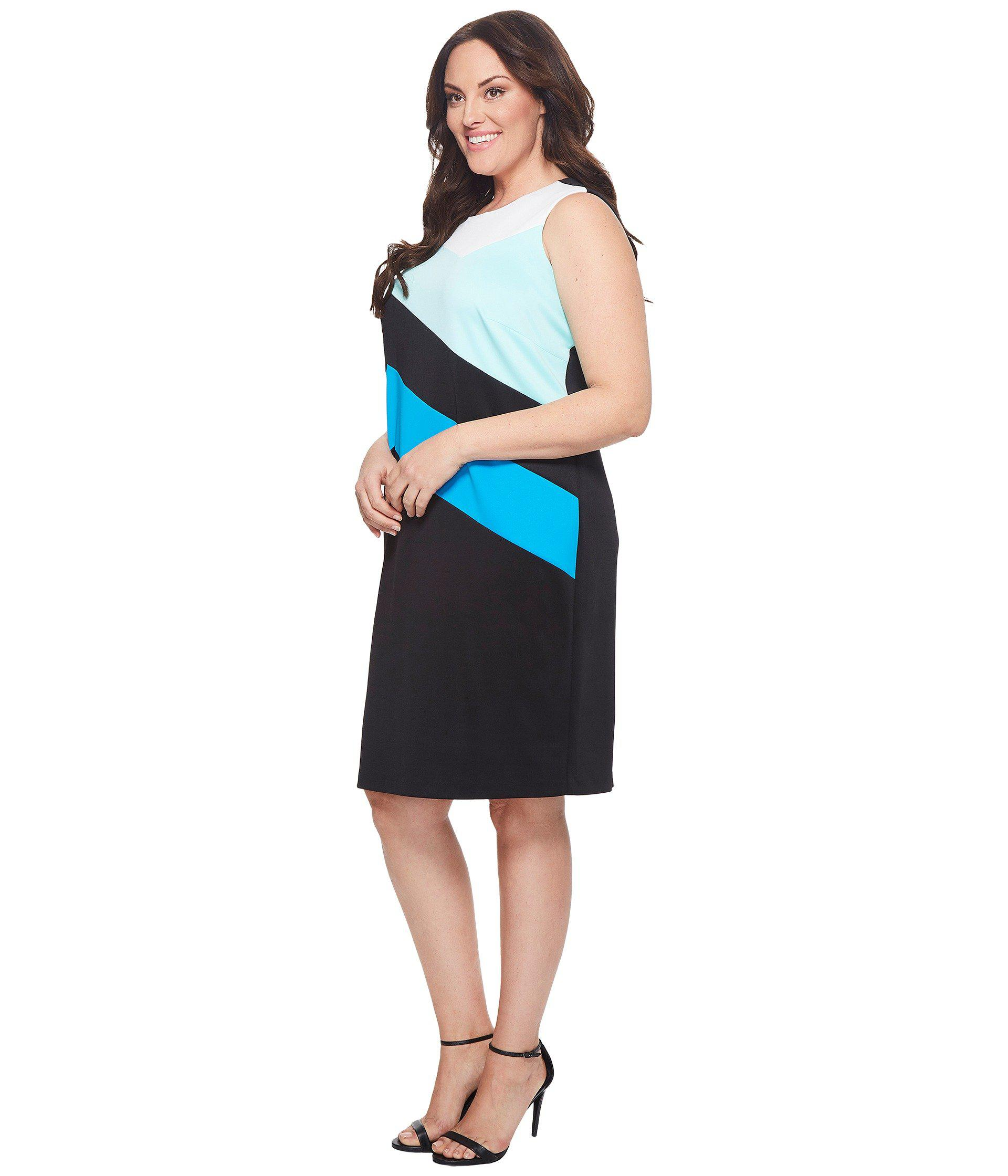 643d8342bcd Lyst - Calvin Klein Plus Size Color Block Sheath Dress in Black - Save  43.29896907216495%