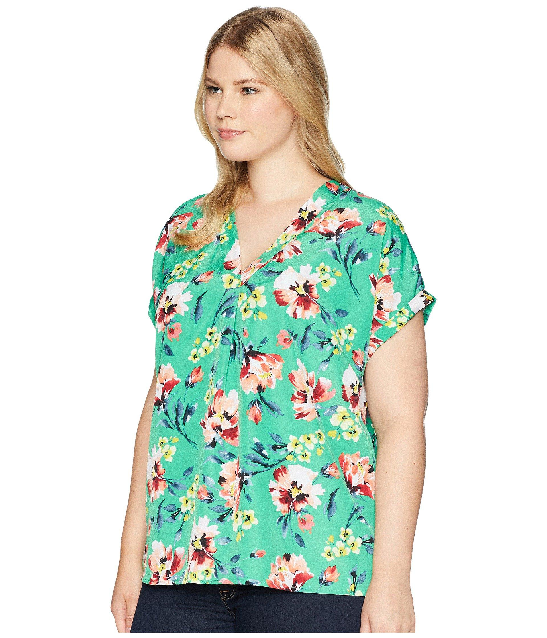 c6a1843489 Lauren by Ralph Lauren Plus Size Floral-print Crepe V-neck Top in ...