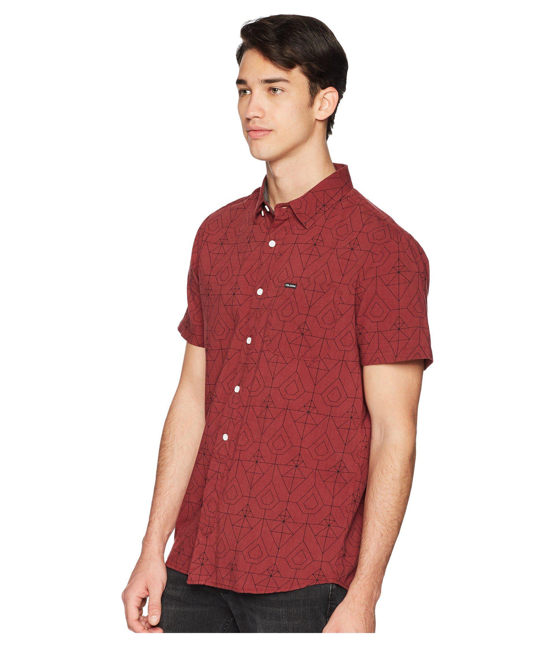 061b96d2ceb9 Lyst - Volcom Geo Print Short Sleeve Woven Shirt in Red for Men