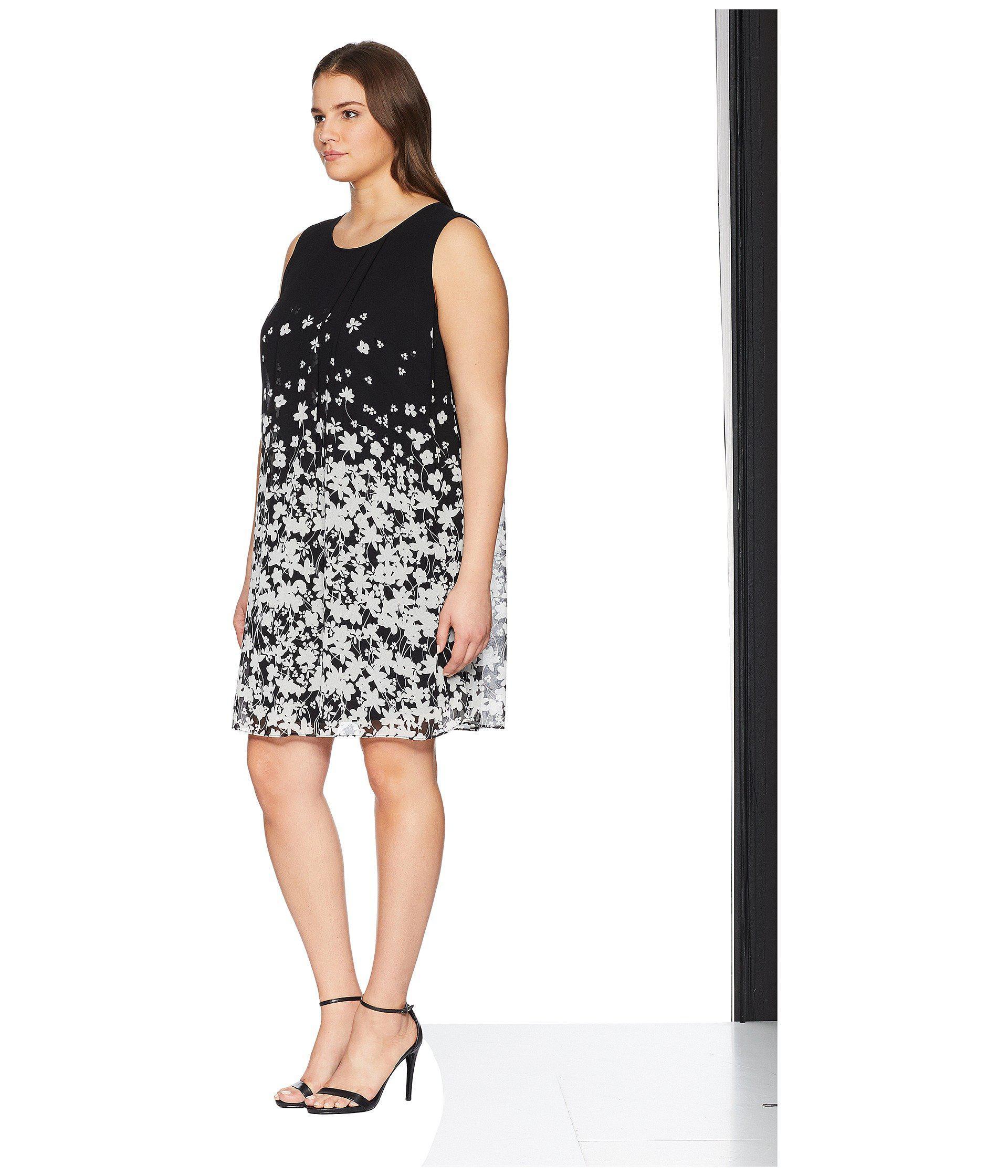 081fcc0e Lyst - Calvin Klein Plus Size Printed Sleeveless A-line Dress in Black -  Save 32%