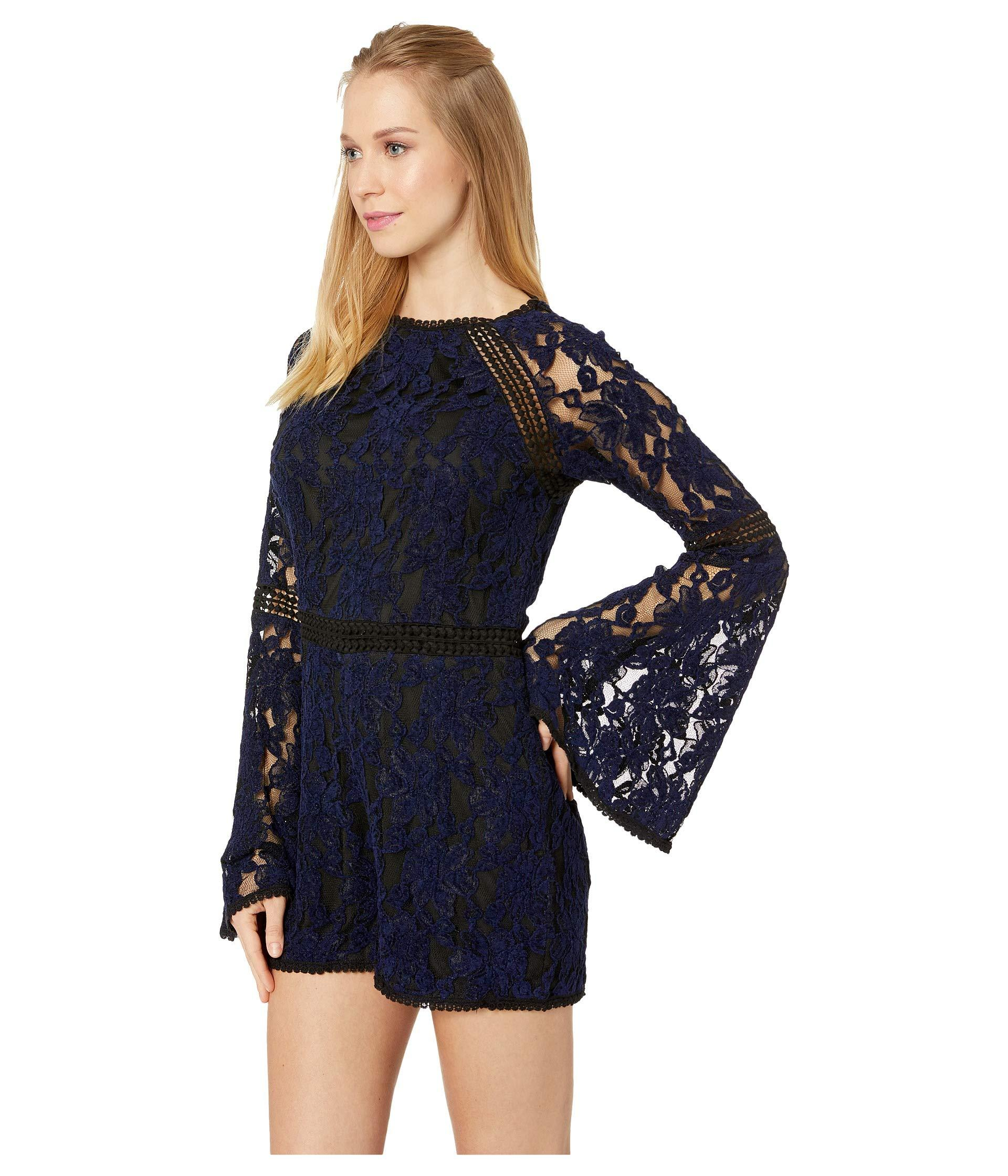 68d9ecd920c Lyst - Cupcakes And Cashmere Cally Chenille Lace Romper in Blue - Save 11%