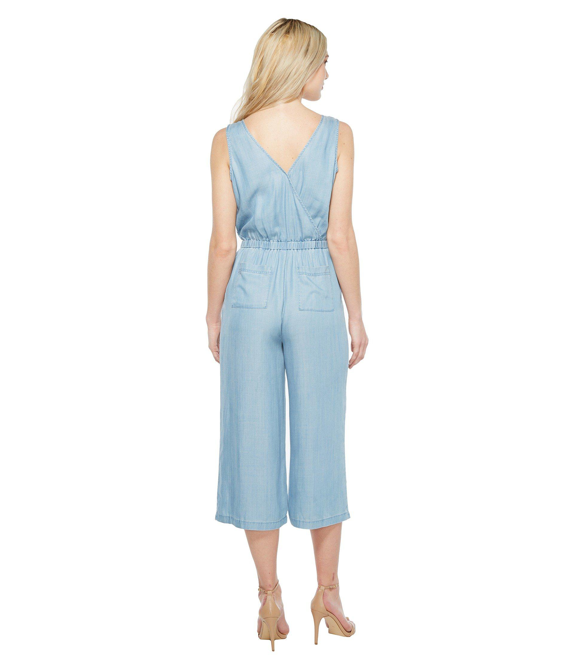 faa9144e8aa6 Lyst - Two By Vince Camuto Sleeveless Wrap Top Cropped Jumpsuit in Blue