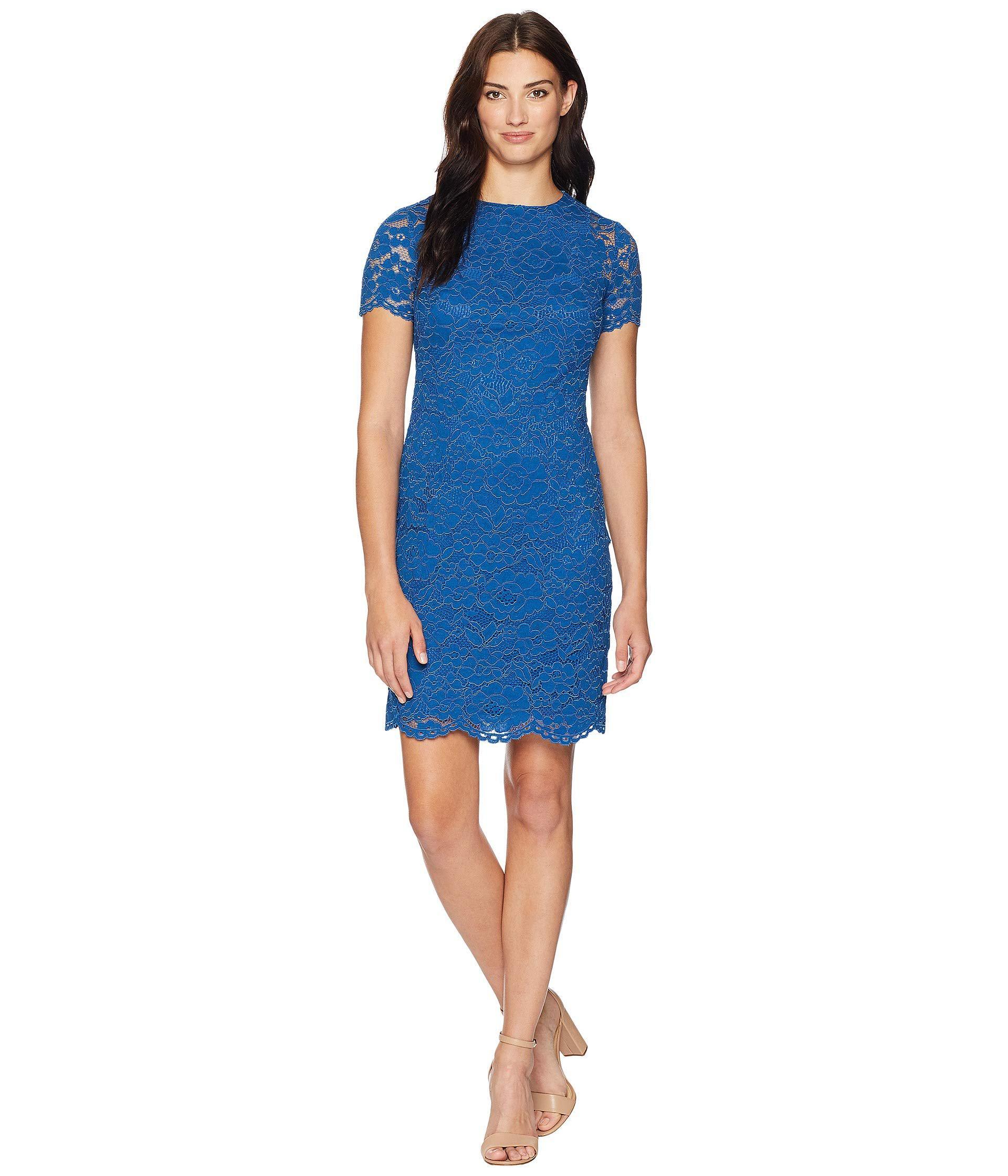 9d1fe9c3e3a Blue Lace Short Sleeve Dress - Data Dynamic AG