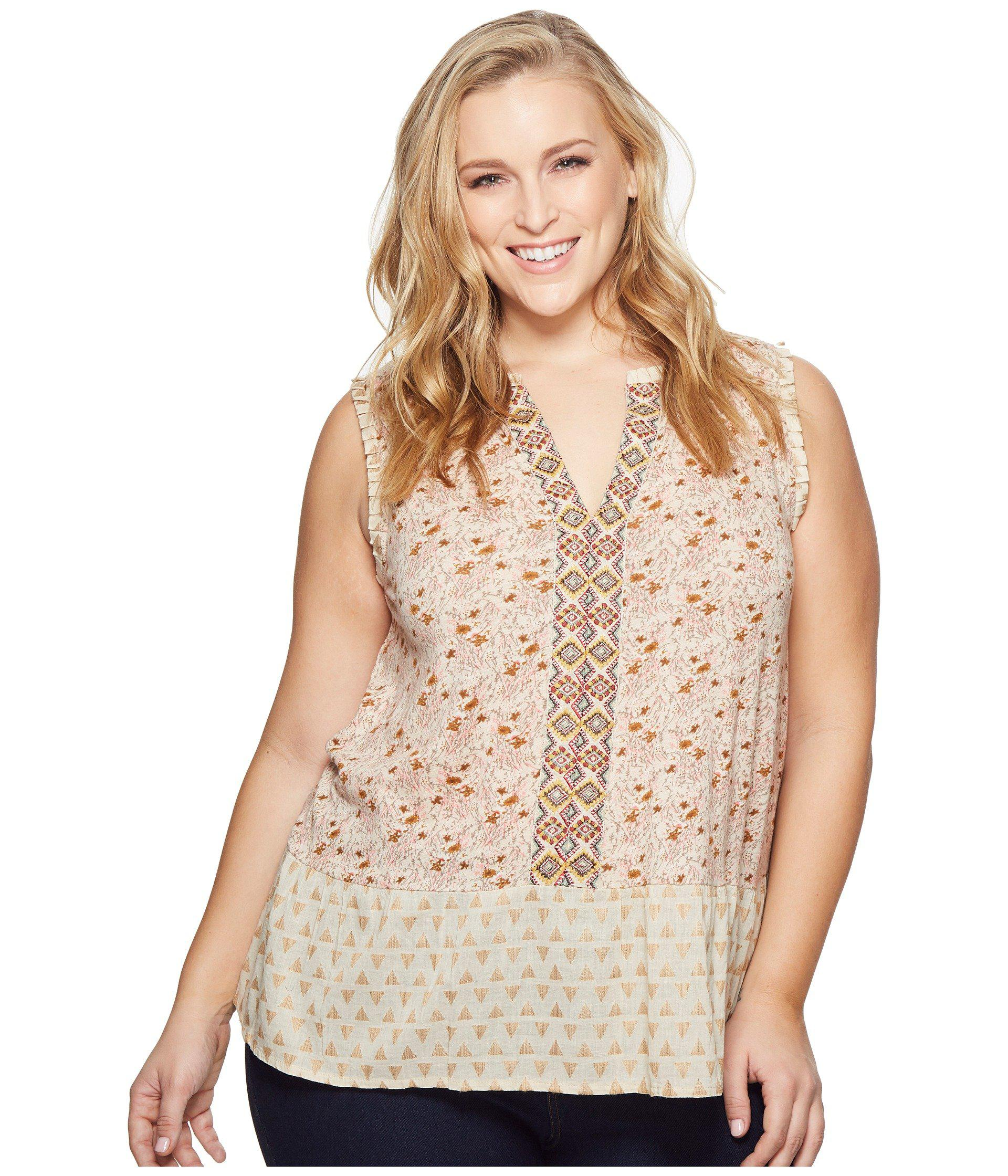 dd63d37bff6 Lyst - Lucky Brand Plus Size Mix Print Peplum Top in Natural - Save 51%