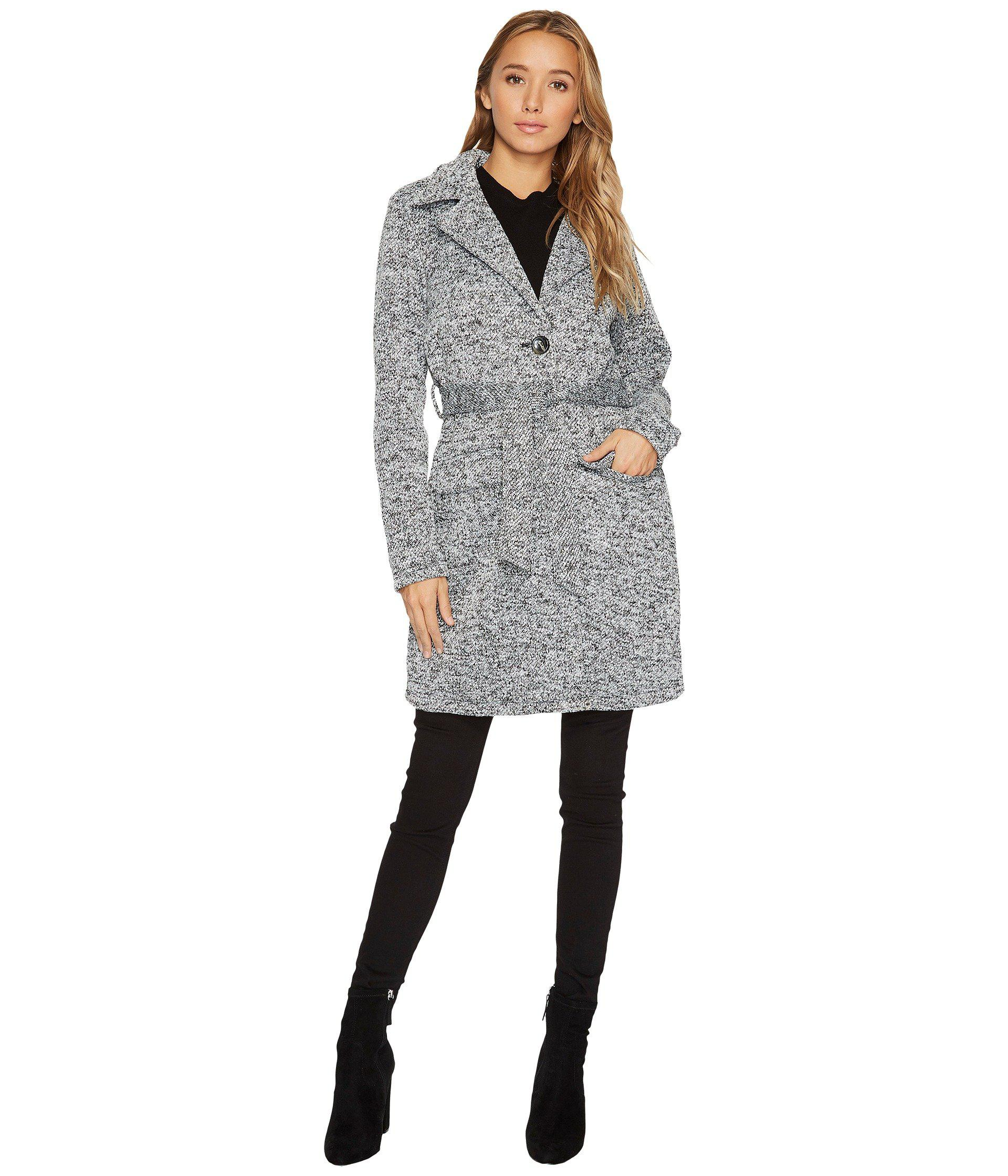 383bcc88bff Lyst - Steve Madden Button Front Wrap Coat in Gray