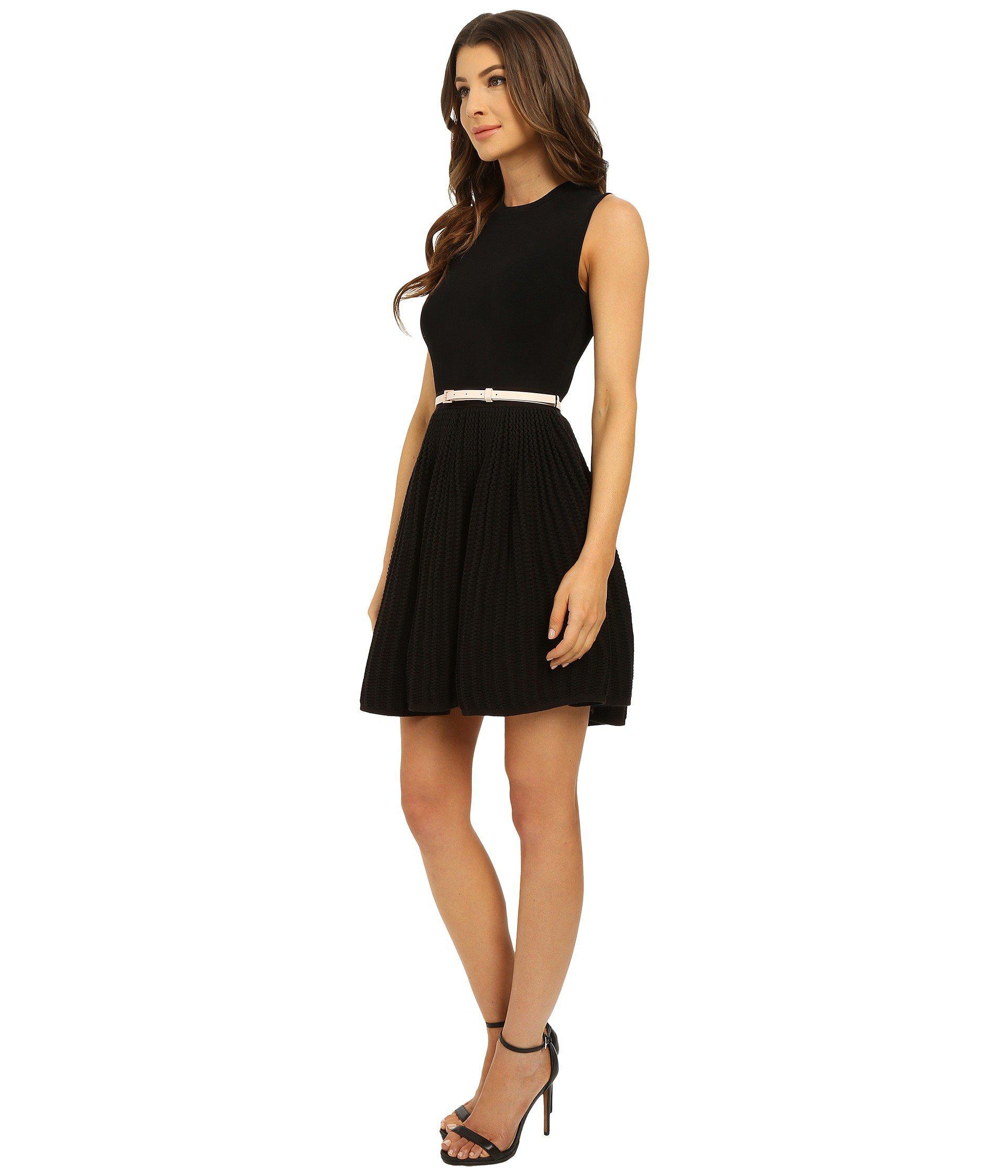 9d4a30b8b Lyst - Ted Baker Alicii Bow Belt Knit Dress in Black