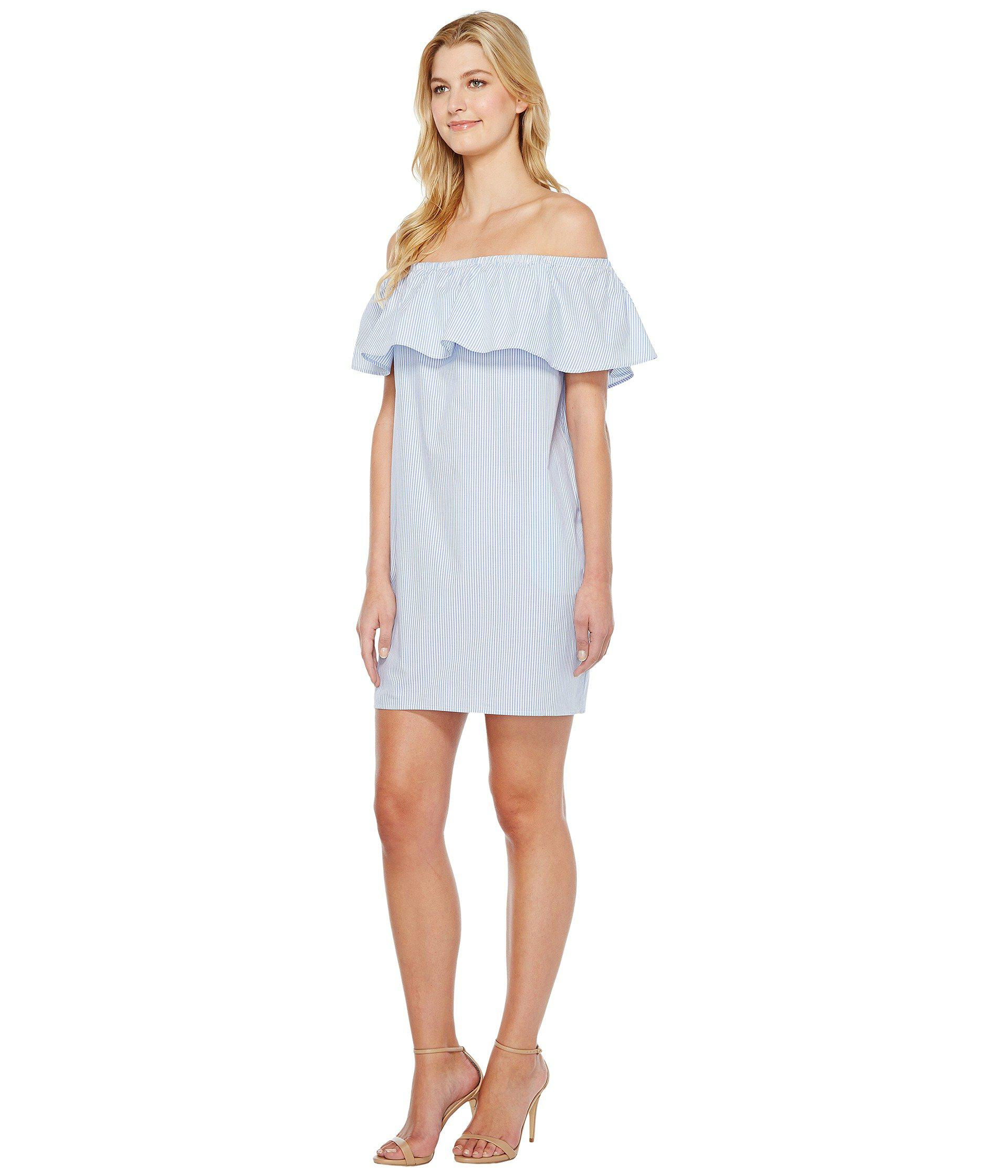 5436faa6fc5 Lyst - Vince Camuto Ruffle Off Shoulder Yarn-dye Stripe Dress in Blue - Save  33%