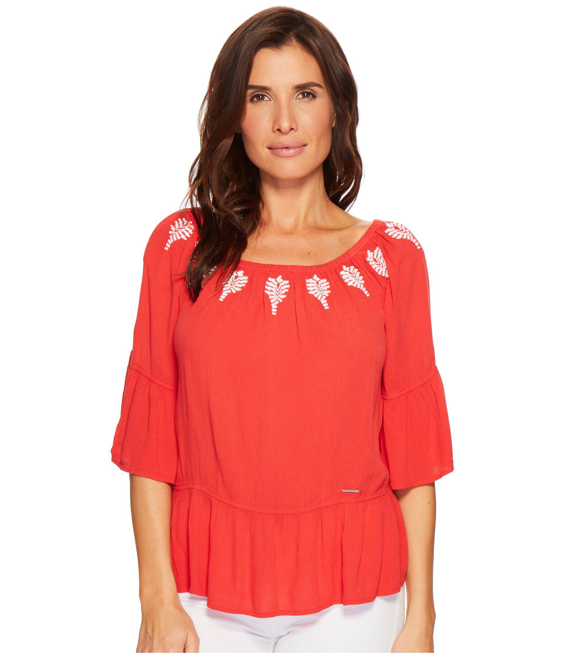 869863811e907c Lyst - U.S. POLO ASSN. Elbow Peasant Blouse in Red