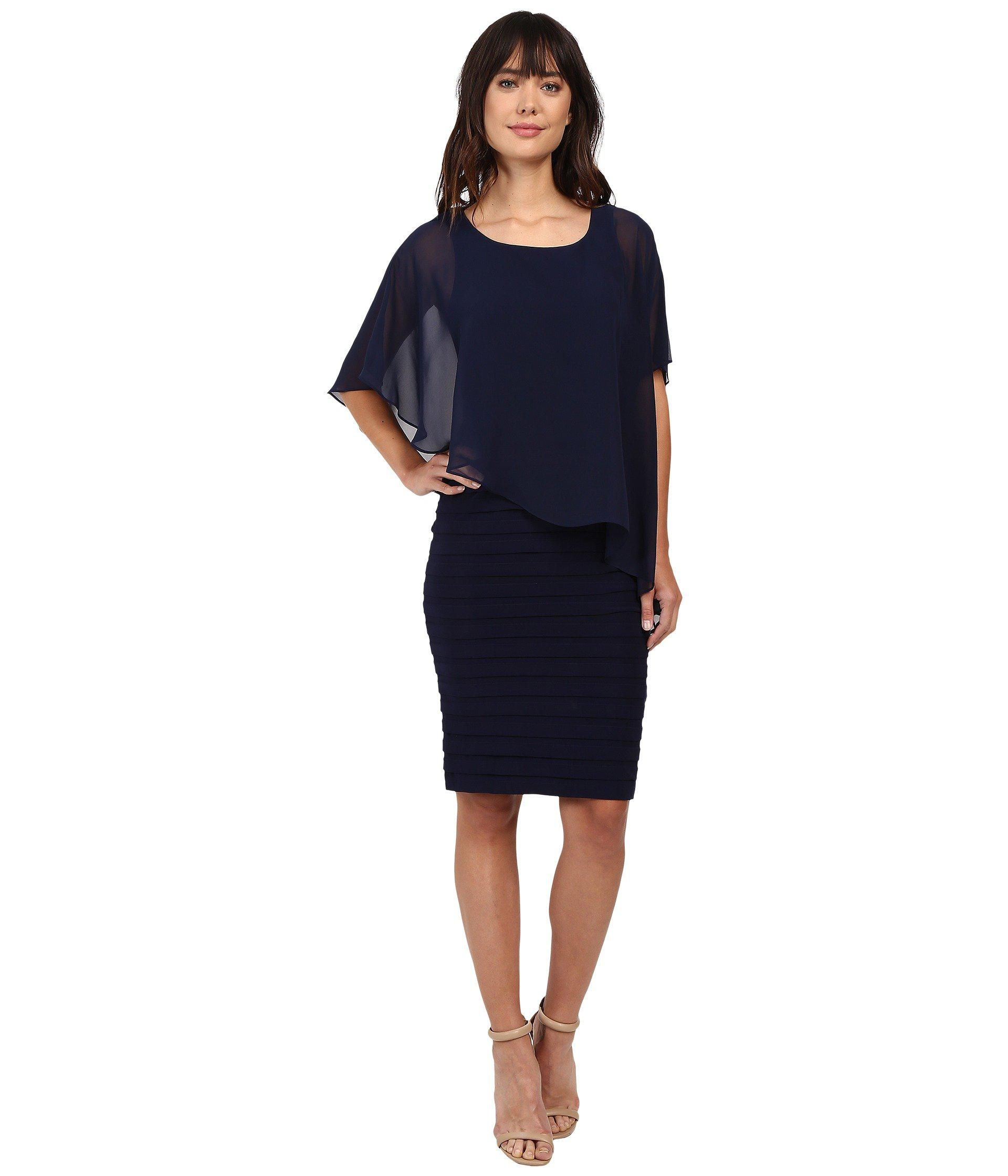 15b7aa6f3451 Adrianna Papell Chiffon Drape Overlay With Banding in Blue - Lyst