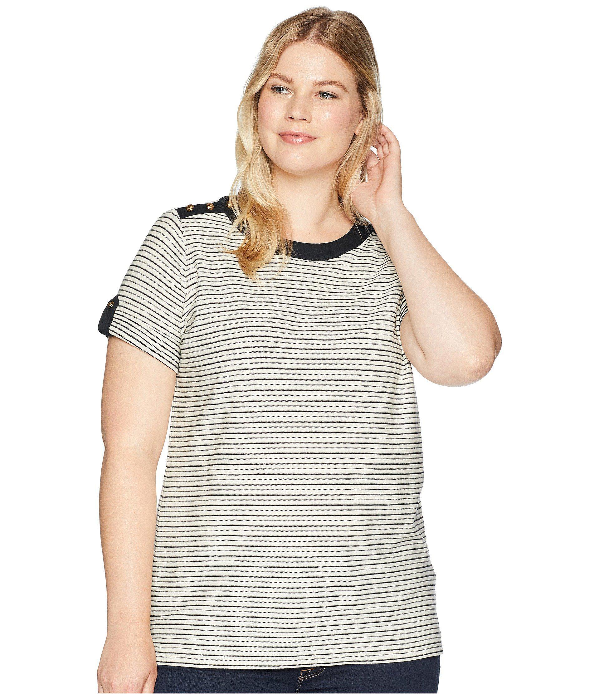 09aa911c Lyst - Lauren by Ralph Lauren Plus Size Striped Button-shoulder Top ...