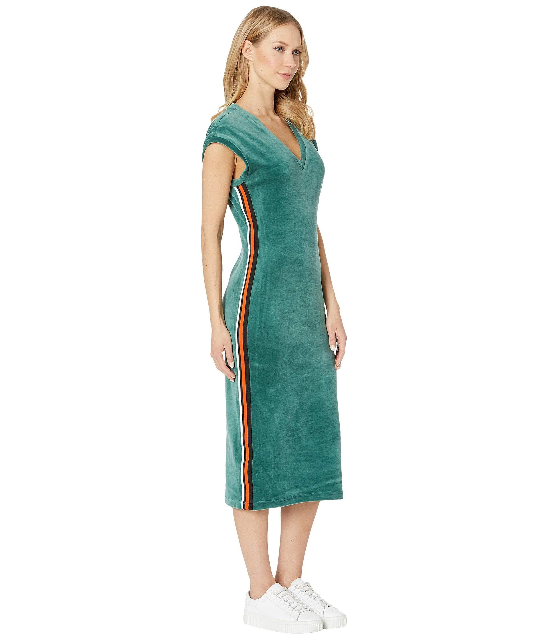 8ab4f278dd40 Juicy Couture - Green Stretch Velour Fitted Midi Dress - Lyst. View  fullscreen