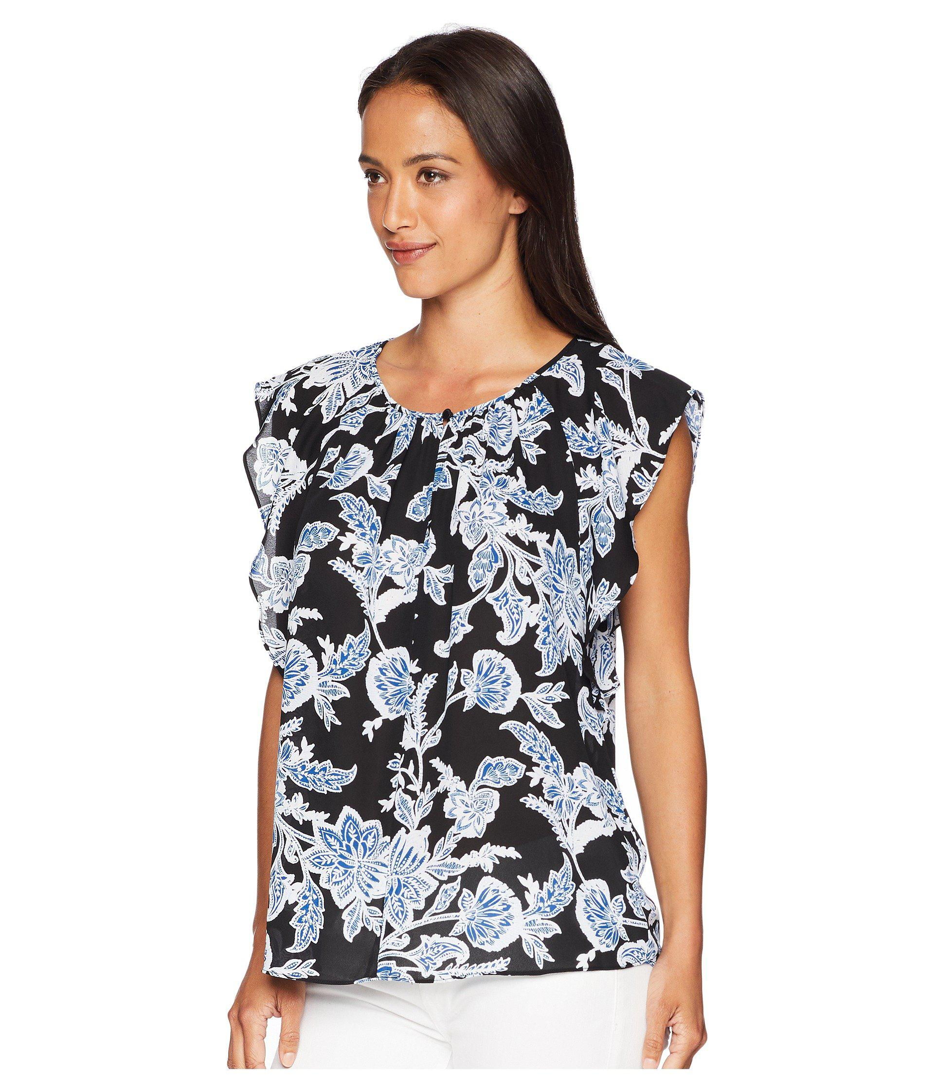 28221d83ef20f Lyst - Vince Camuto Flutter Sleeve Woodblock Floral Keyhole Blouse in Black  - Save 57.4468085106383%