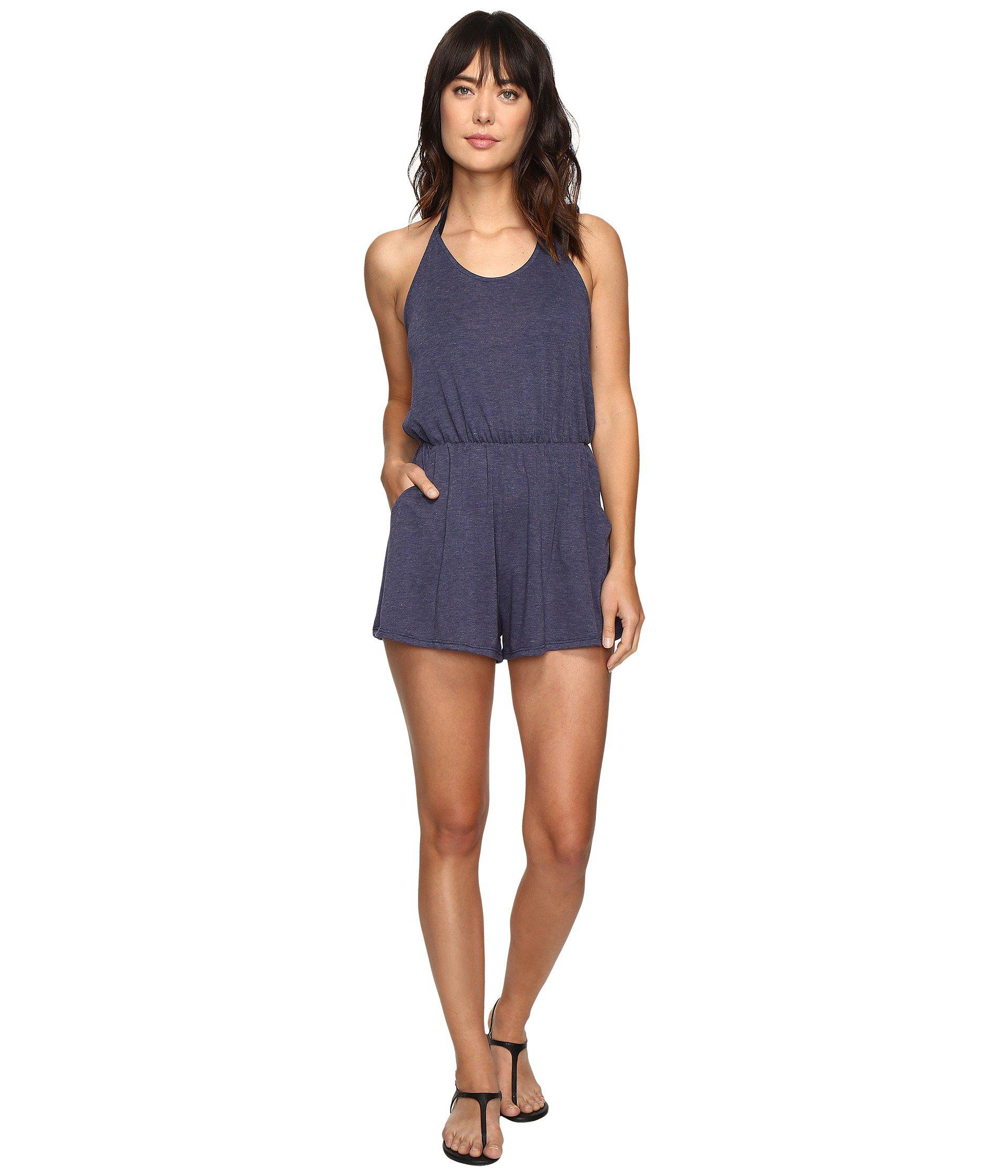 94e342412b4a Lyst - Lucky Brand Festival Solid Romper Cover-up in Blue