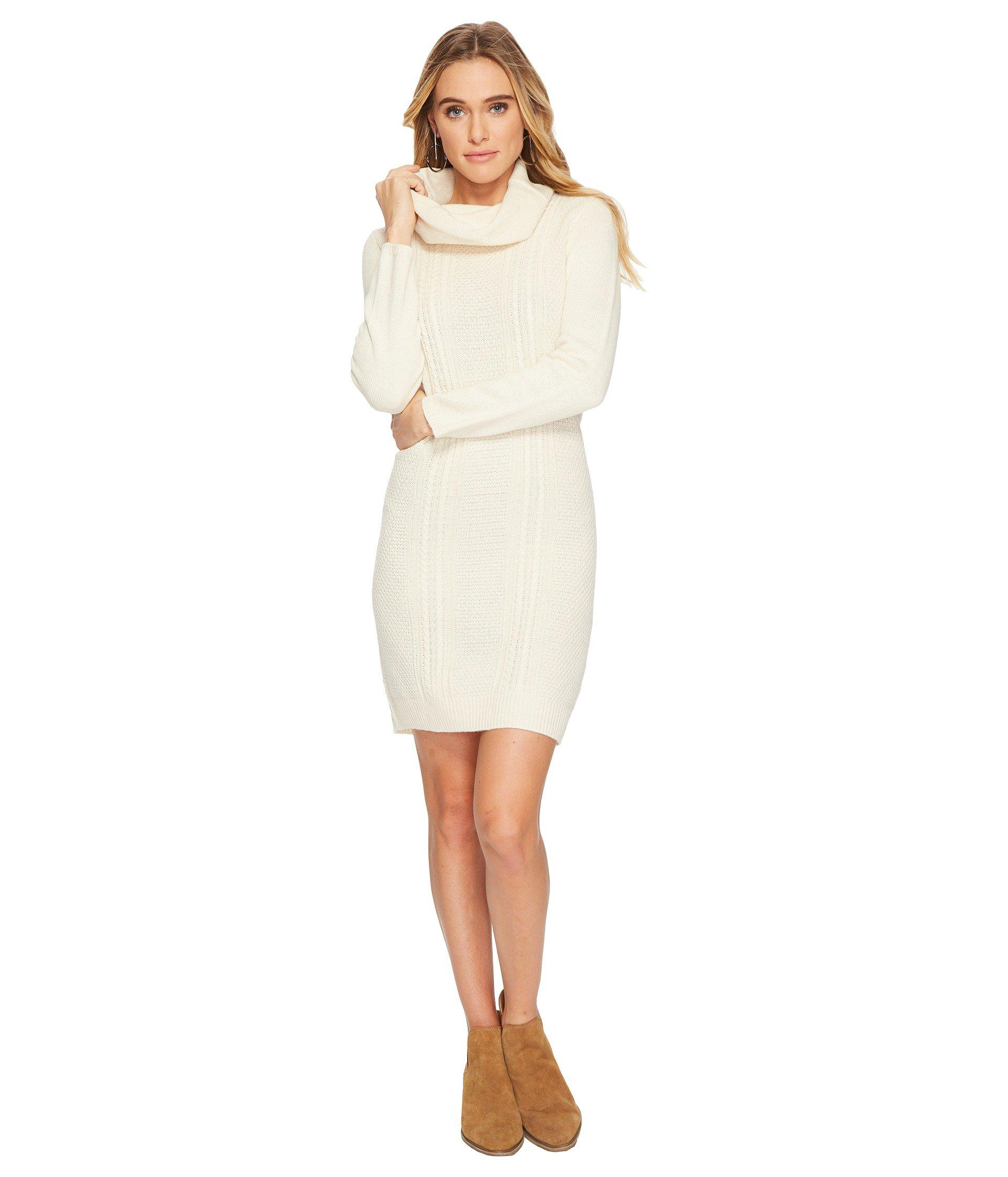 761f7d53ae0 Jack BB Dakota Amory Cable Knit Cowl Neck Sweater Dress in White - Lyst