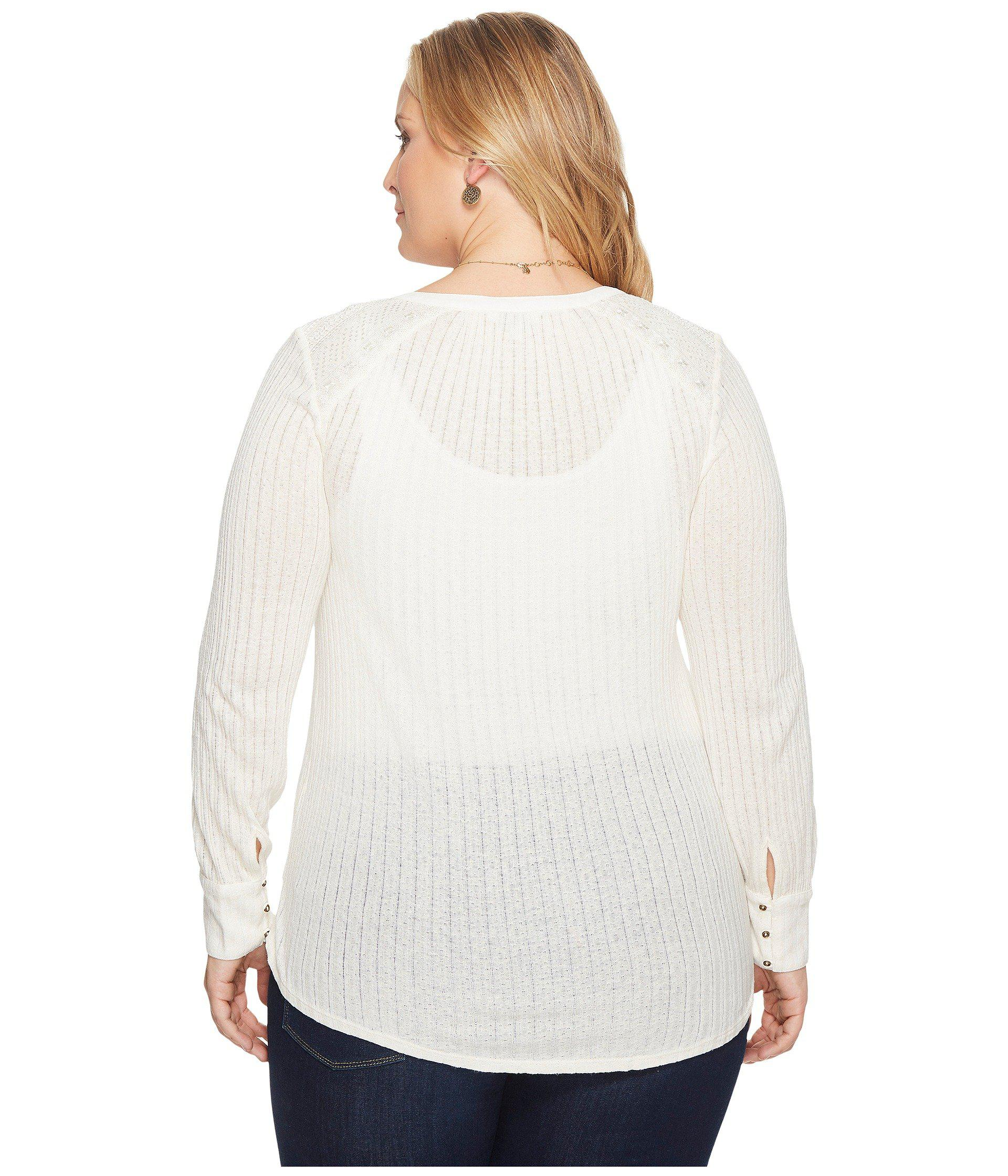 06ec7f94d98 Lucky Brand - White Plus Size Embroidered Mix Henley - Lyst. View fullscreen
