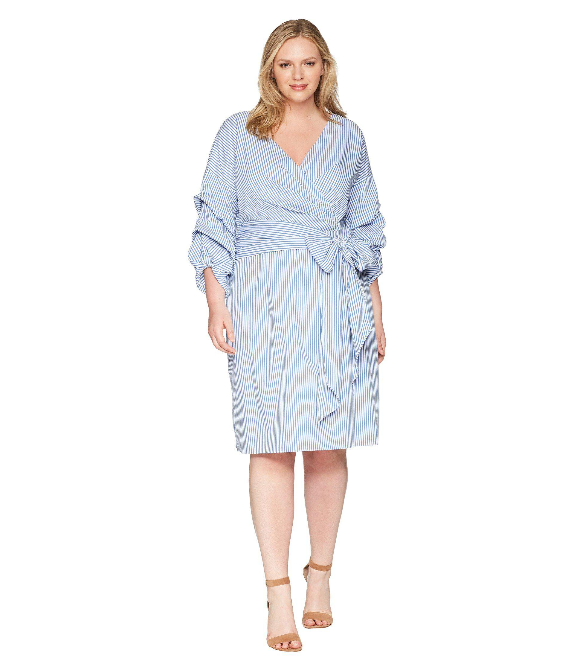b31947b06d8 Adrianna Papell Plus Size Short Wrap Dress Long Sleeves in Blue - Lyst