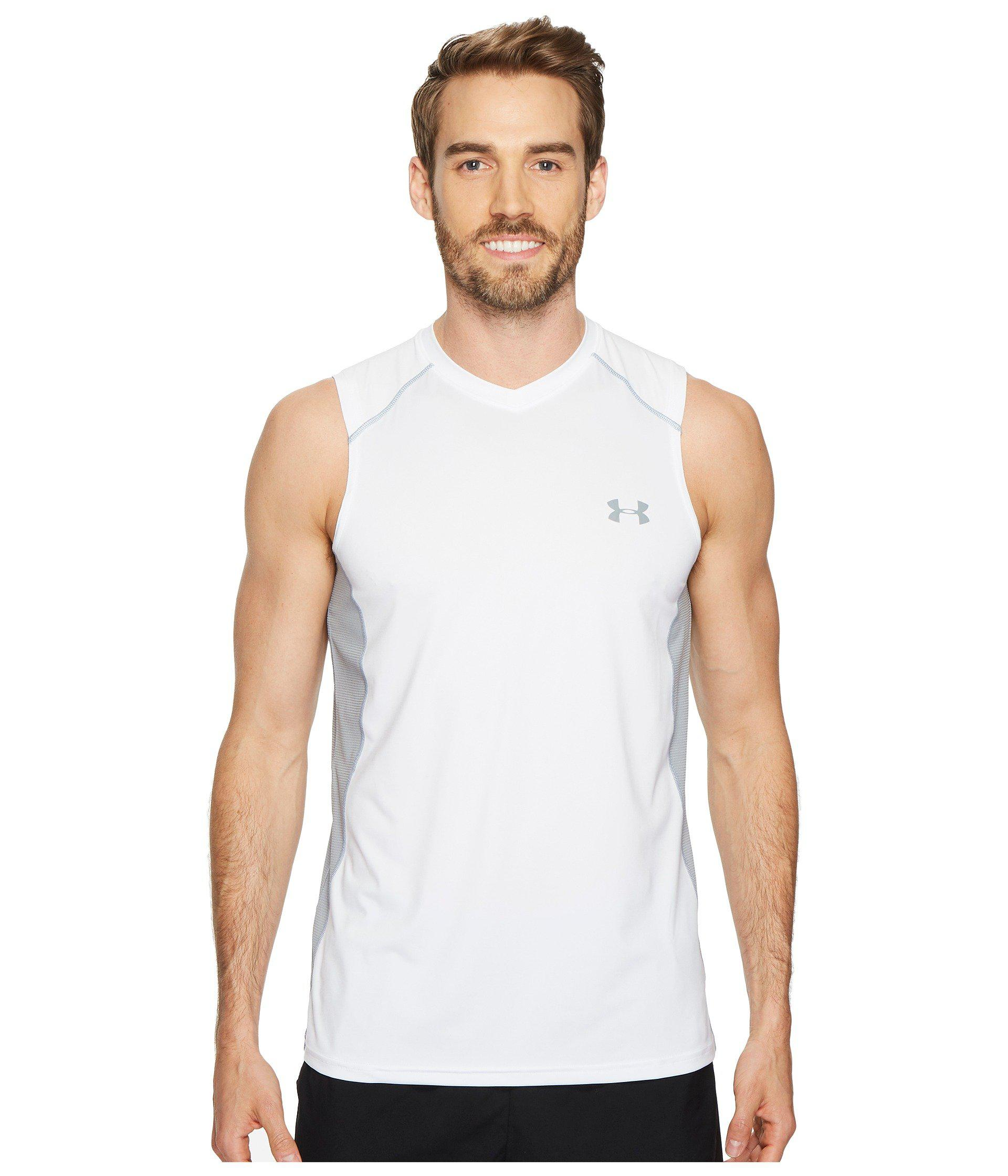 bfb098c72d165 Lyst - Under Armour Raid Sleeveless Tee in White for Men - Save 4%