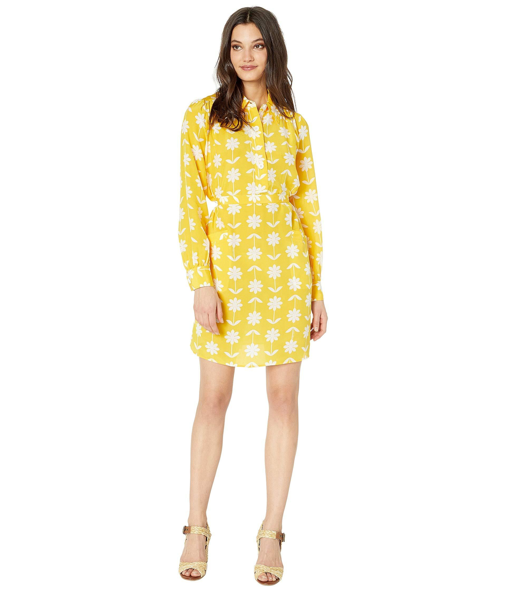 70bd04cc580c Lyst - Juicy Couture Silk Marigold Floral Dress in Yellow