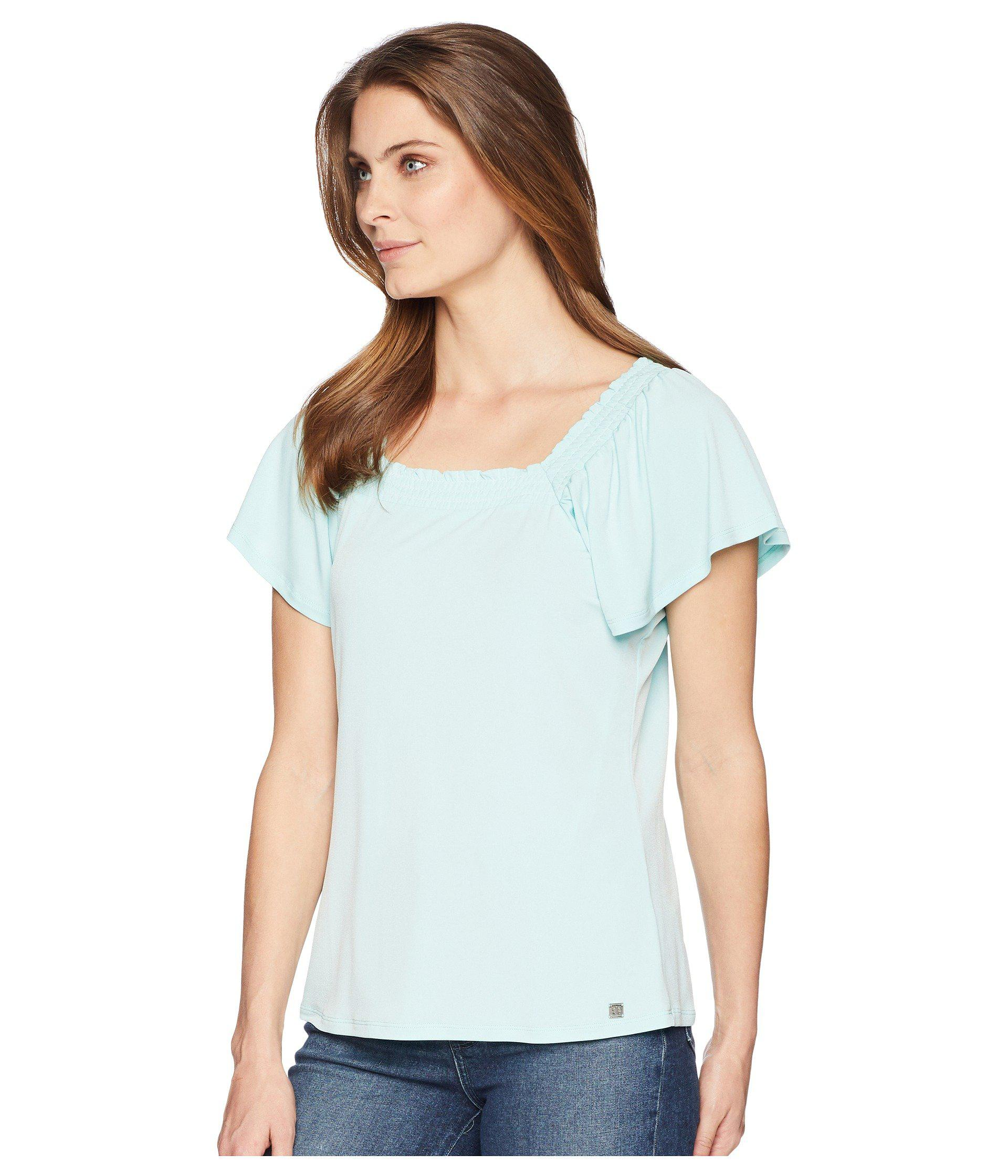 edc6642b8f005 Lyst - Ivanka Trump Square Neck Short Ruffle Sleeve Top With Open Hem in  Blue - Save 27%