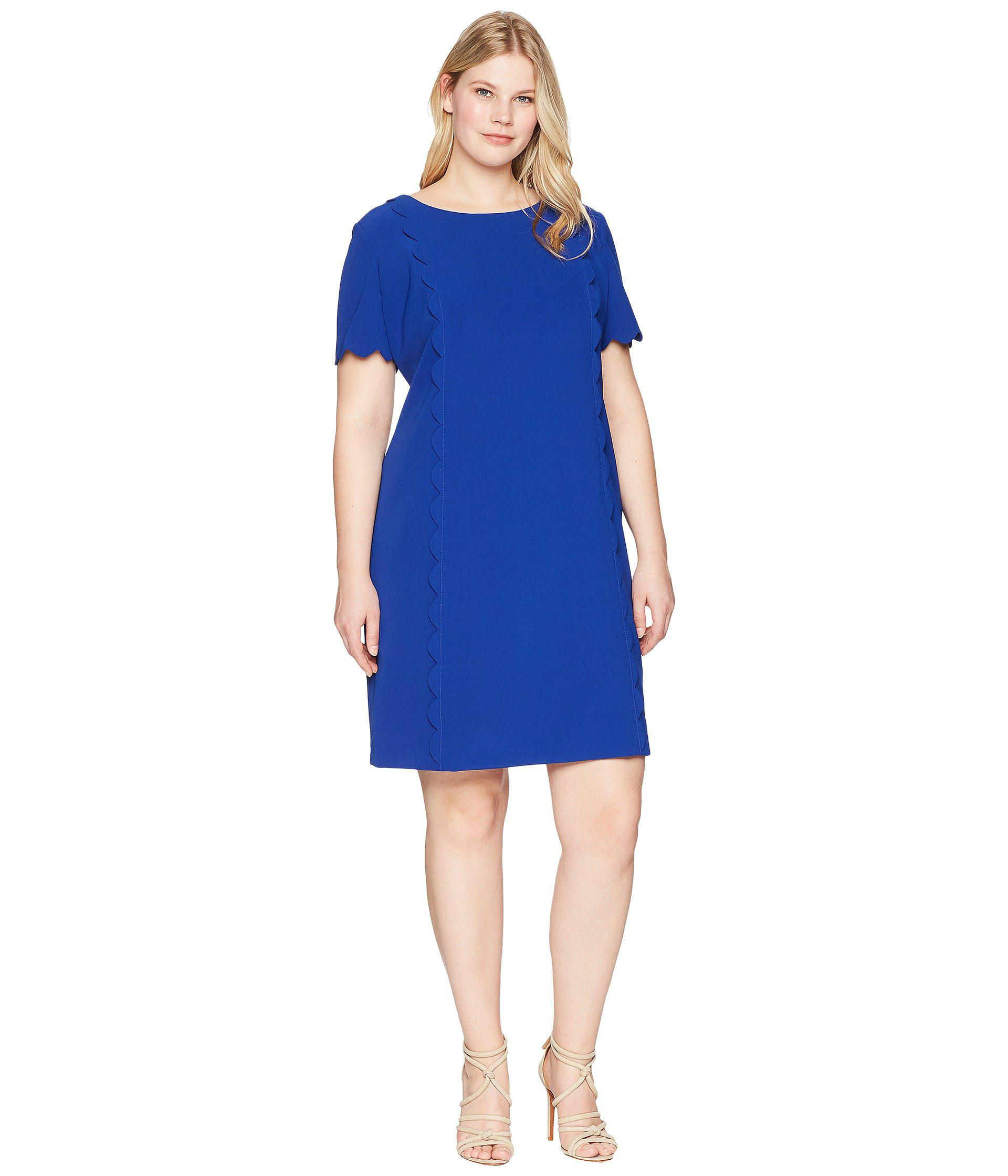066298e15eda1 Tahari. Women's Blue Plus Size Scallop Trim Short Sleeve Shift Dress