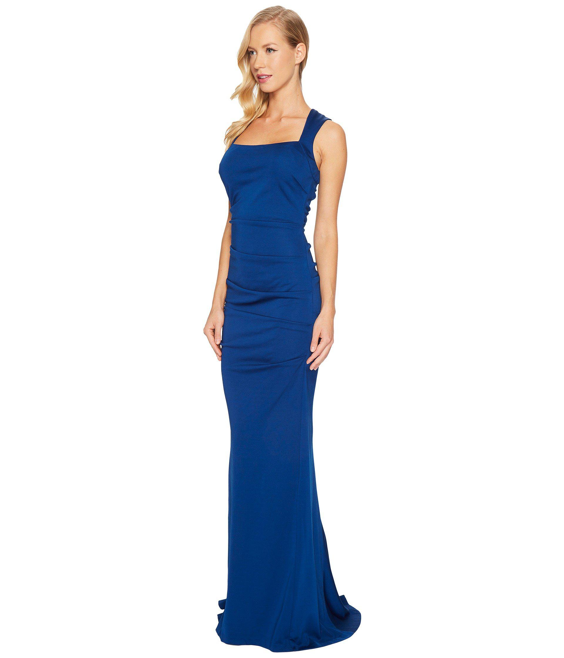 0513127e14ba4 Lyst - Adrianna Papell Sleeveless Ruched Lola Jersey Gown in Blue