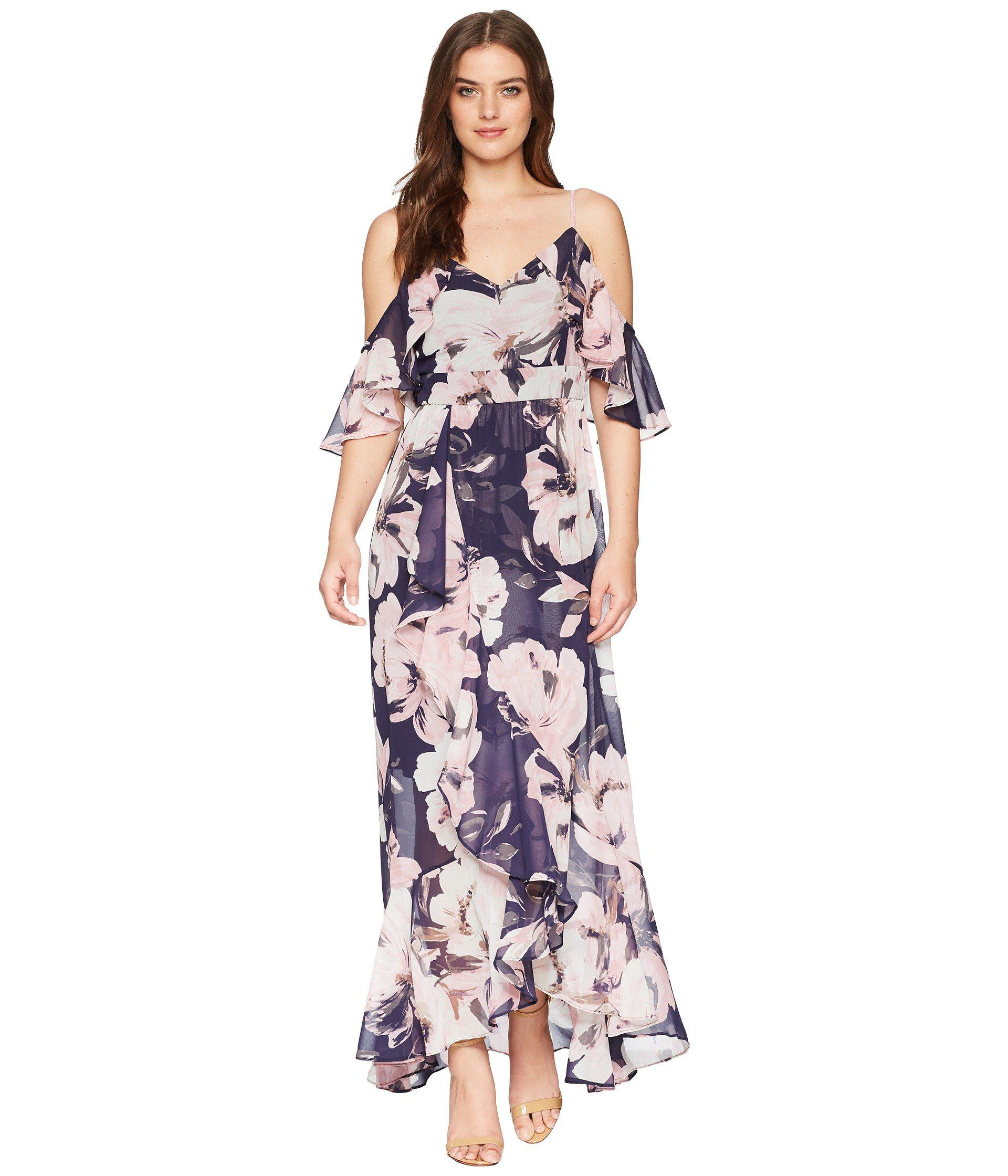 6feed00b609 Vince Camuto. Women s Blue Printed Chiffon Cold Shoulder Maxi Dress With  Ruffled Skirt
