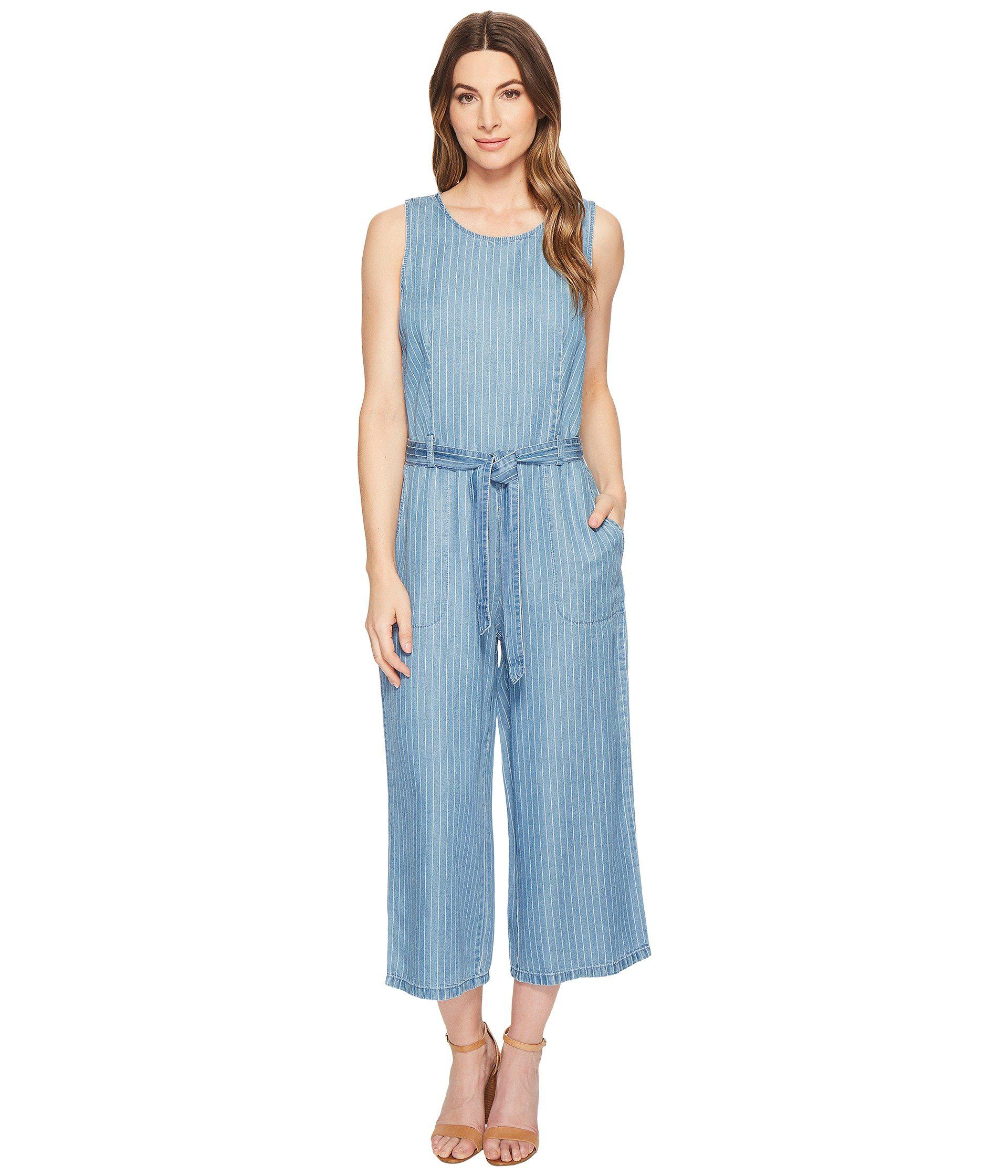 3dcc84a02cd8 Lyst - Two By Vince Camuto Sleeveless Stripe Belted Jumpsuit in Blue ...