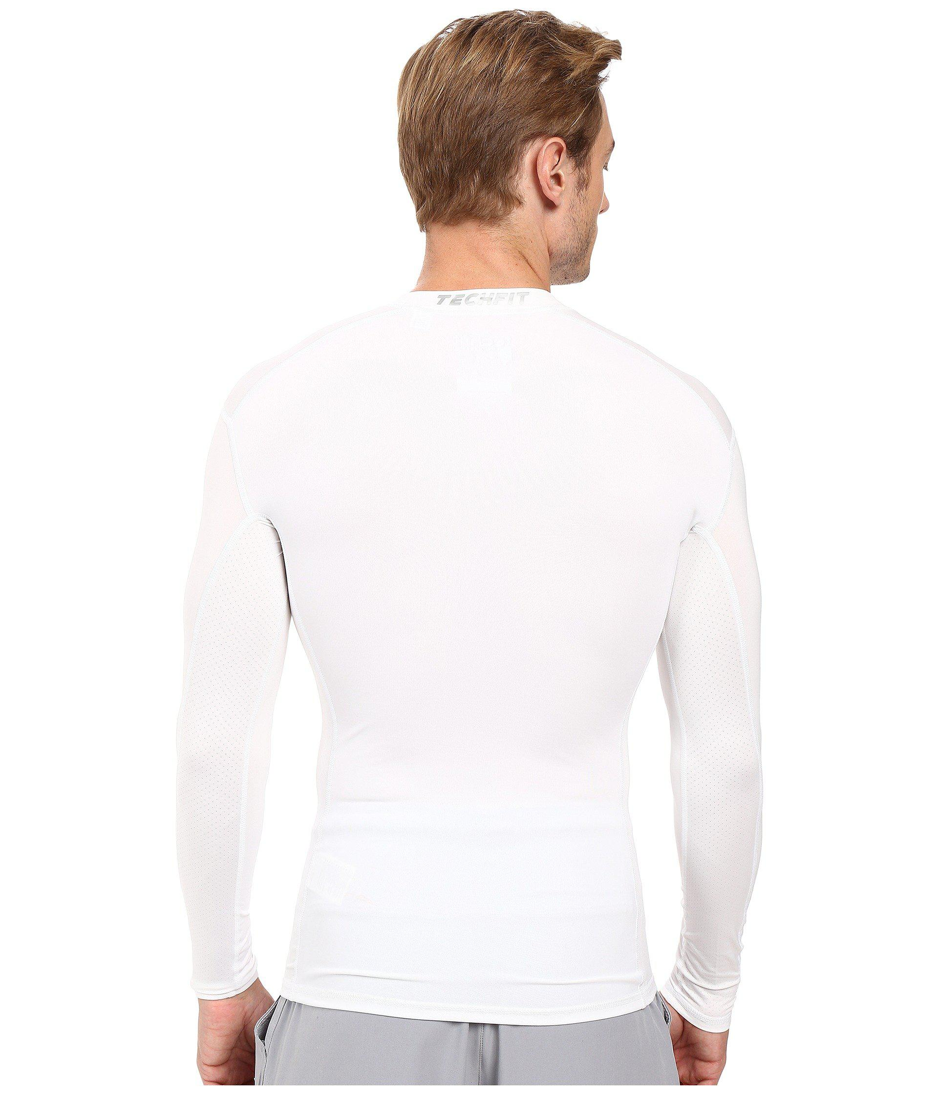 c55635724 adidas Techfit Base Layer Long Sleeve Tee in White for Men - Lyst