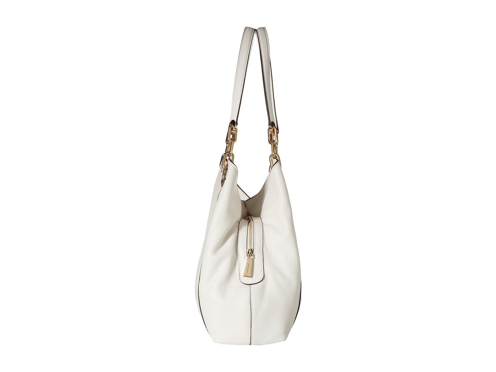 98db75fc828f MICHAEL Michael Kors Fulton Large Charm Shoulder Tote in White - Lyst