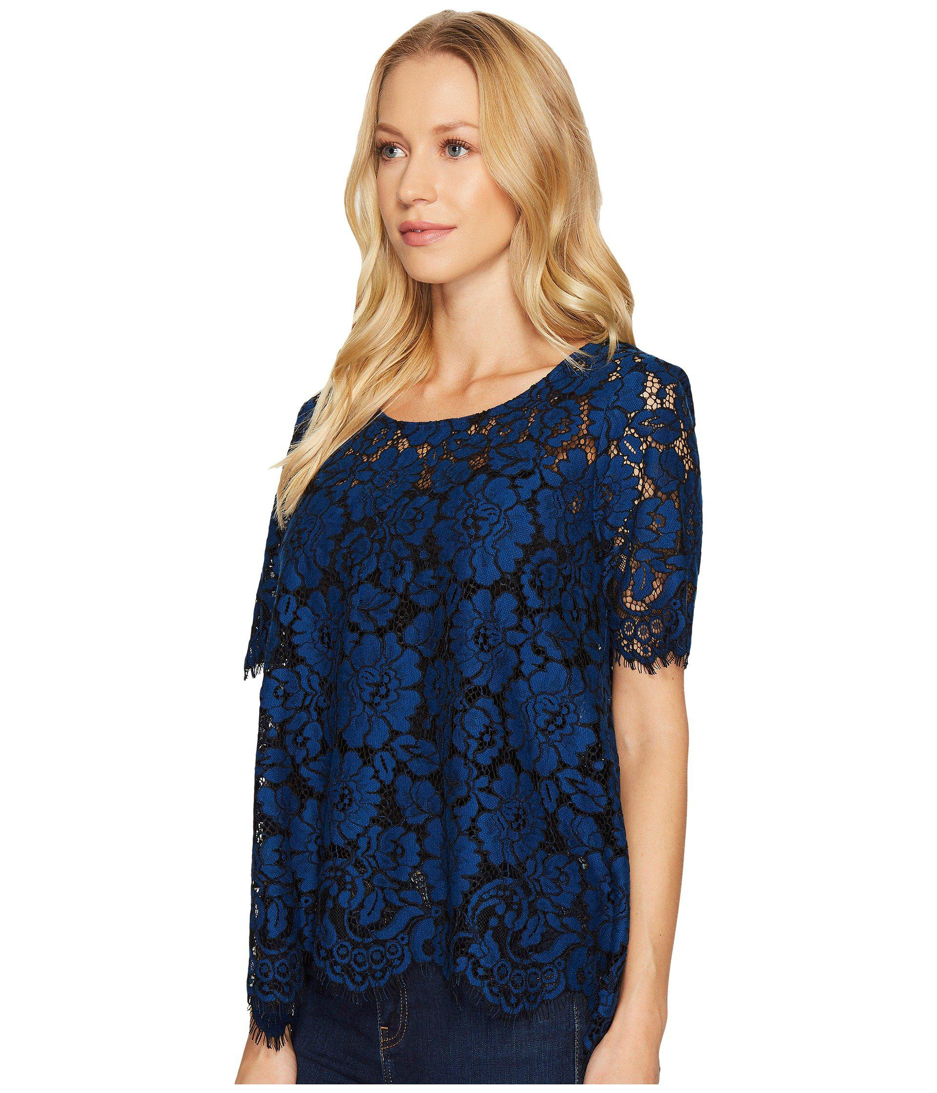 17cdb51b31a23 Lyst - Karen Kane Flare Lace Top in Blue - Save 62%