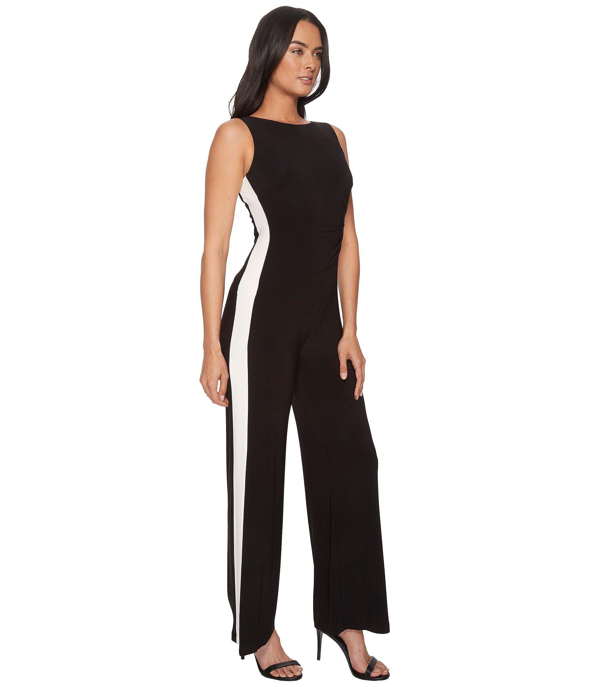 ac385ddefac Lauren by Ralph Lauren - Black Shah Two-tone Matte Jersey Jumpsuit - Lyst.  View fullscreen