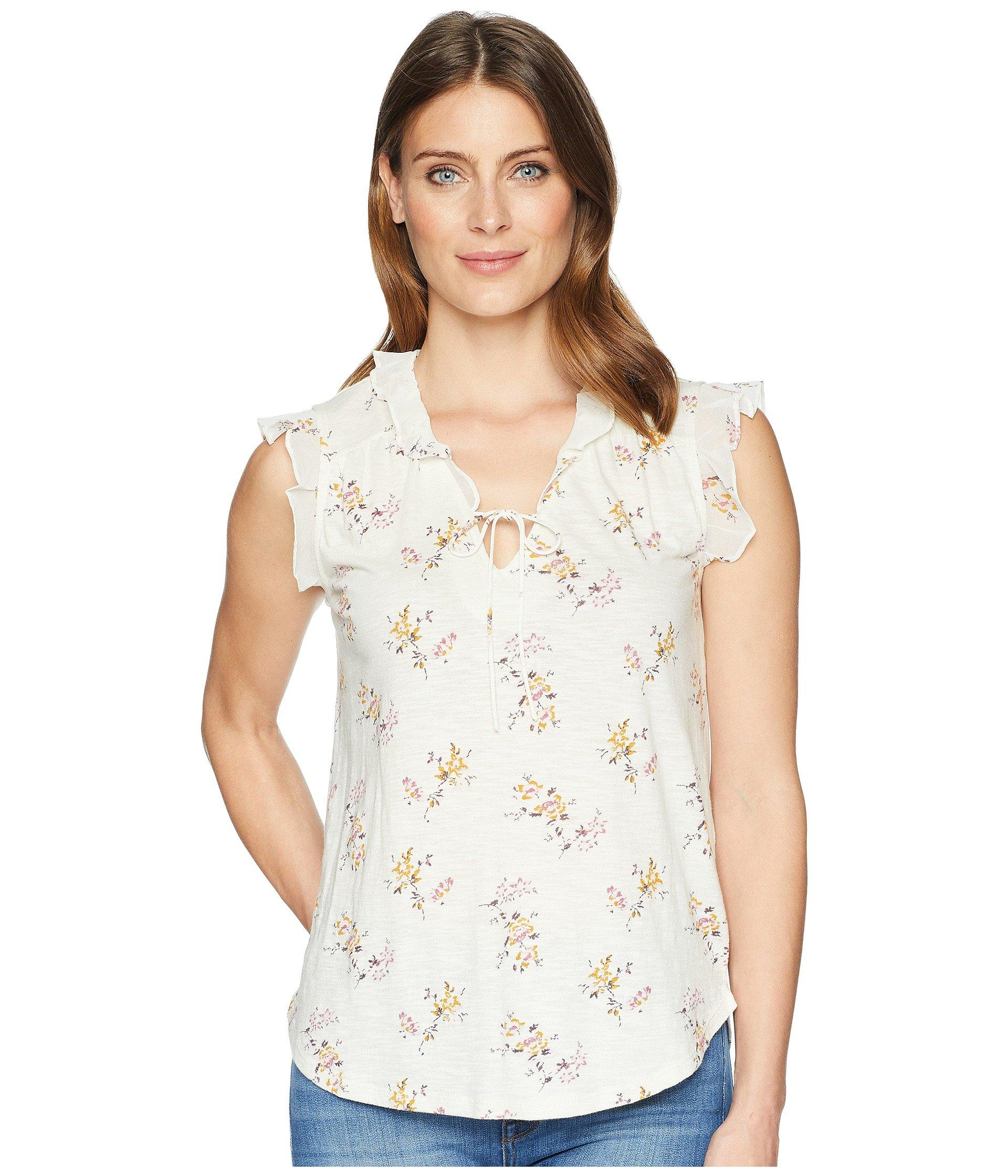 a10526fe8f271 Lyst - Lucky Brand Flutter Sleeve Peasant Top in Natural - Save 15%