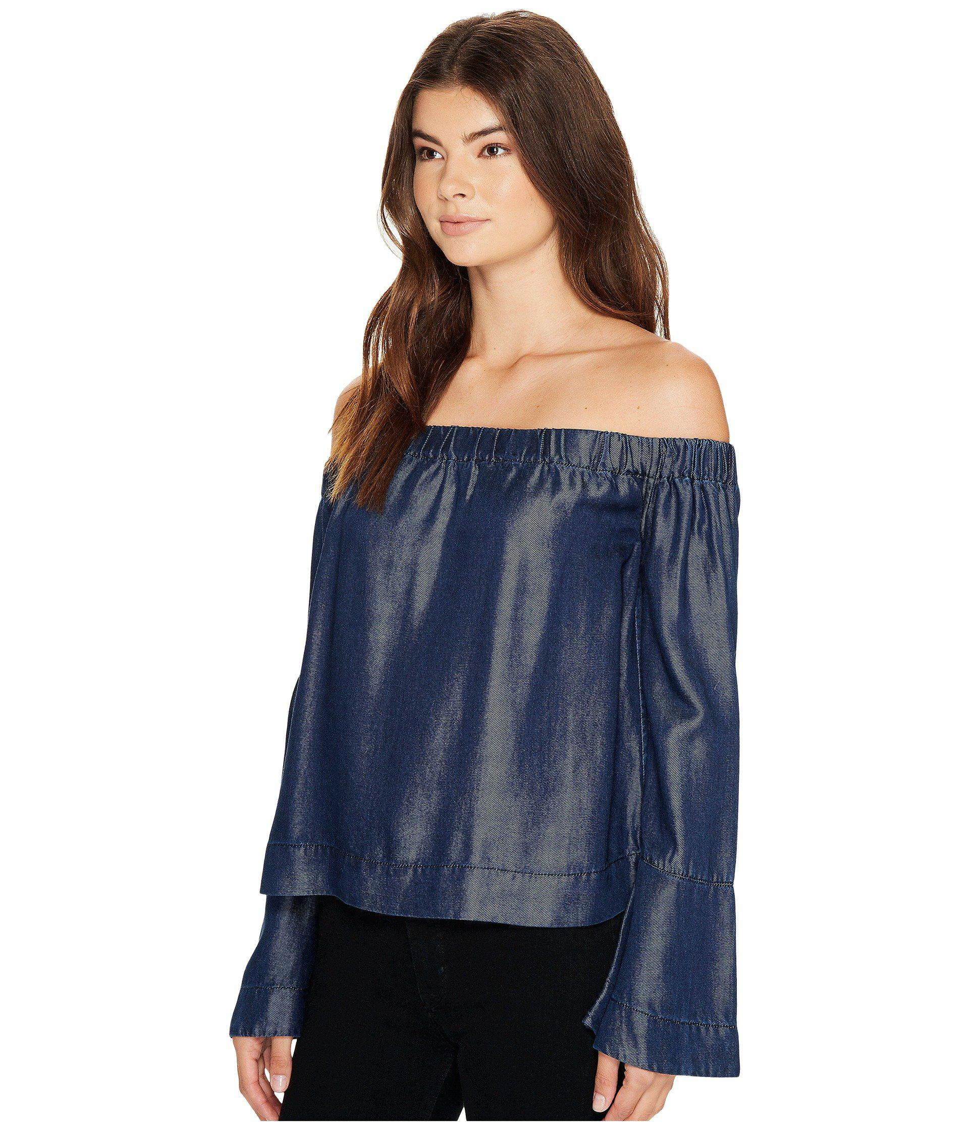 38352dd6167e9c Lyst - 7 For All Mankind Bell Sleeve Off Shoulder Denim Top In Rinsed Night  in Blue - Save 34%