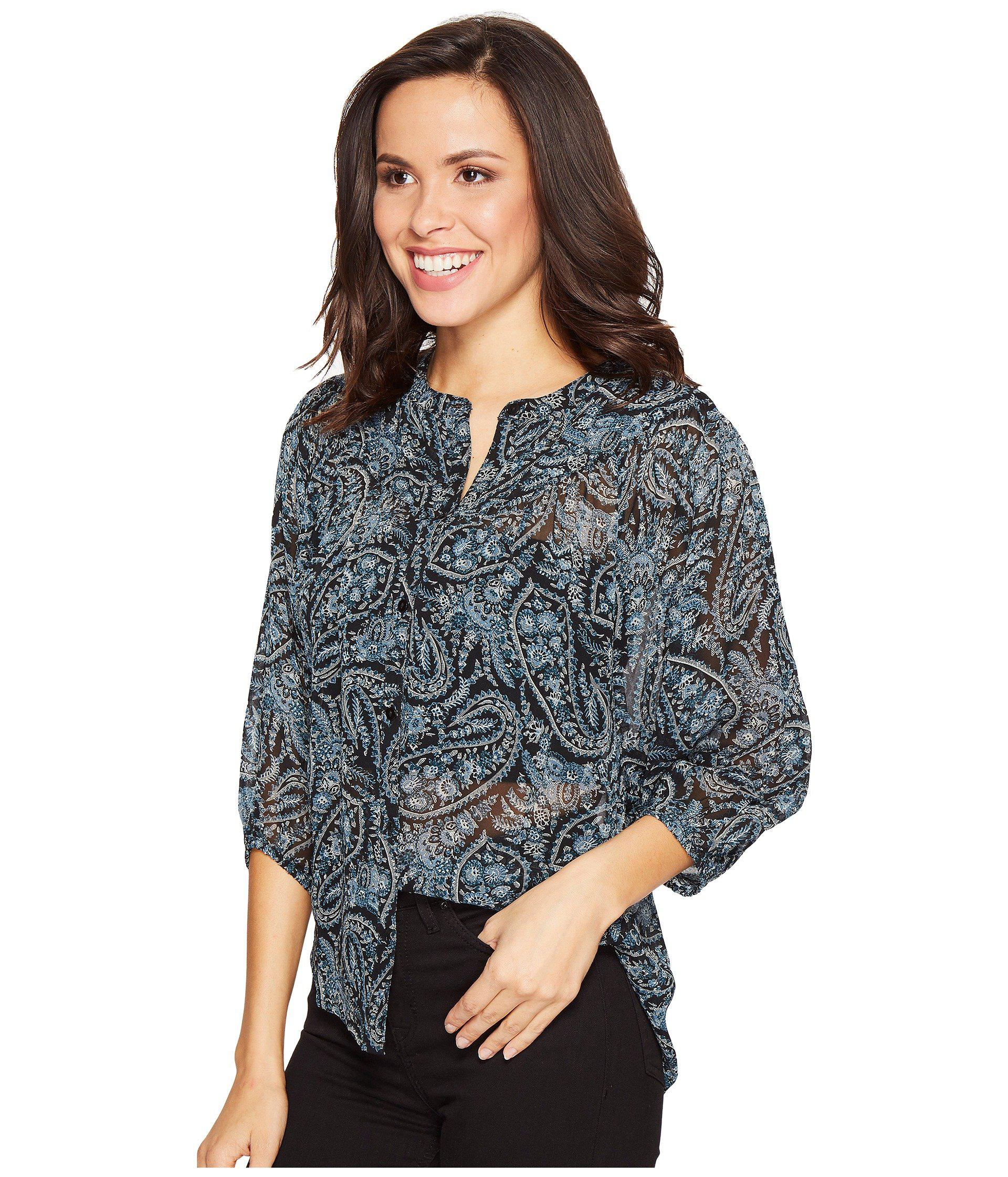 3b2c249fcae Lyst - Lucky Brand Black Paisley Peasant Top in Black - Save 26%