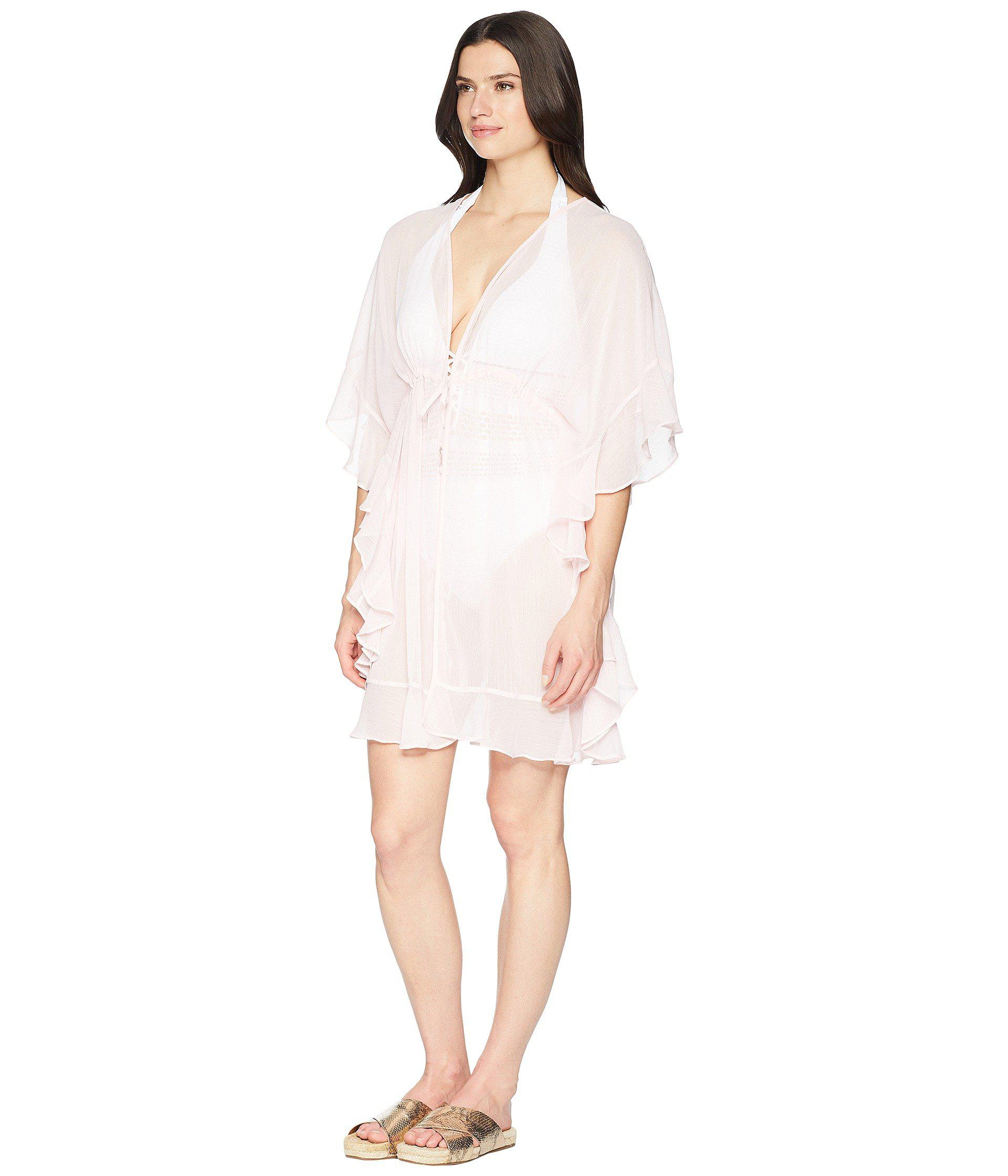 16758255c9 Lyst - Bleu Rod Beattie Open Front Ruffle Caftan Cover-up in Pink