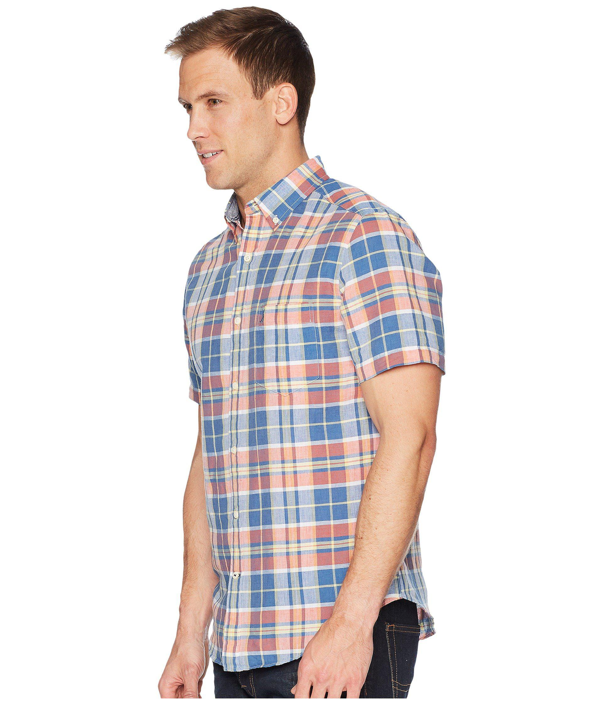 Lyst Nautica Short Sleeve Linen Plaid Shirt In Blue For Men Save