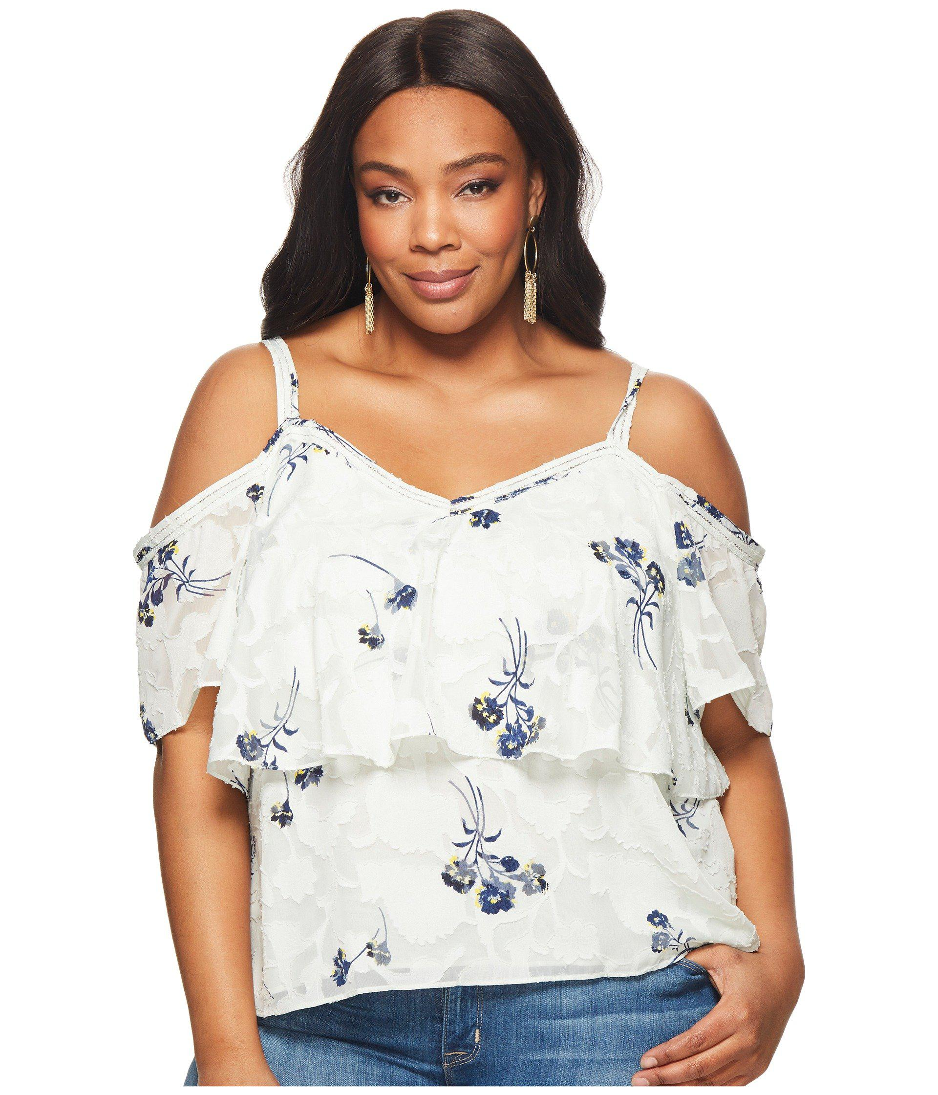 9049023fb4787b Lyst - Lucky Brand Plus Size Floral Cold Shoulder Top - Save 23%