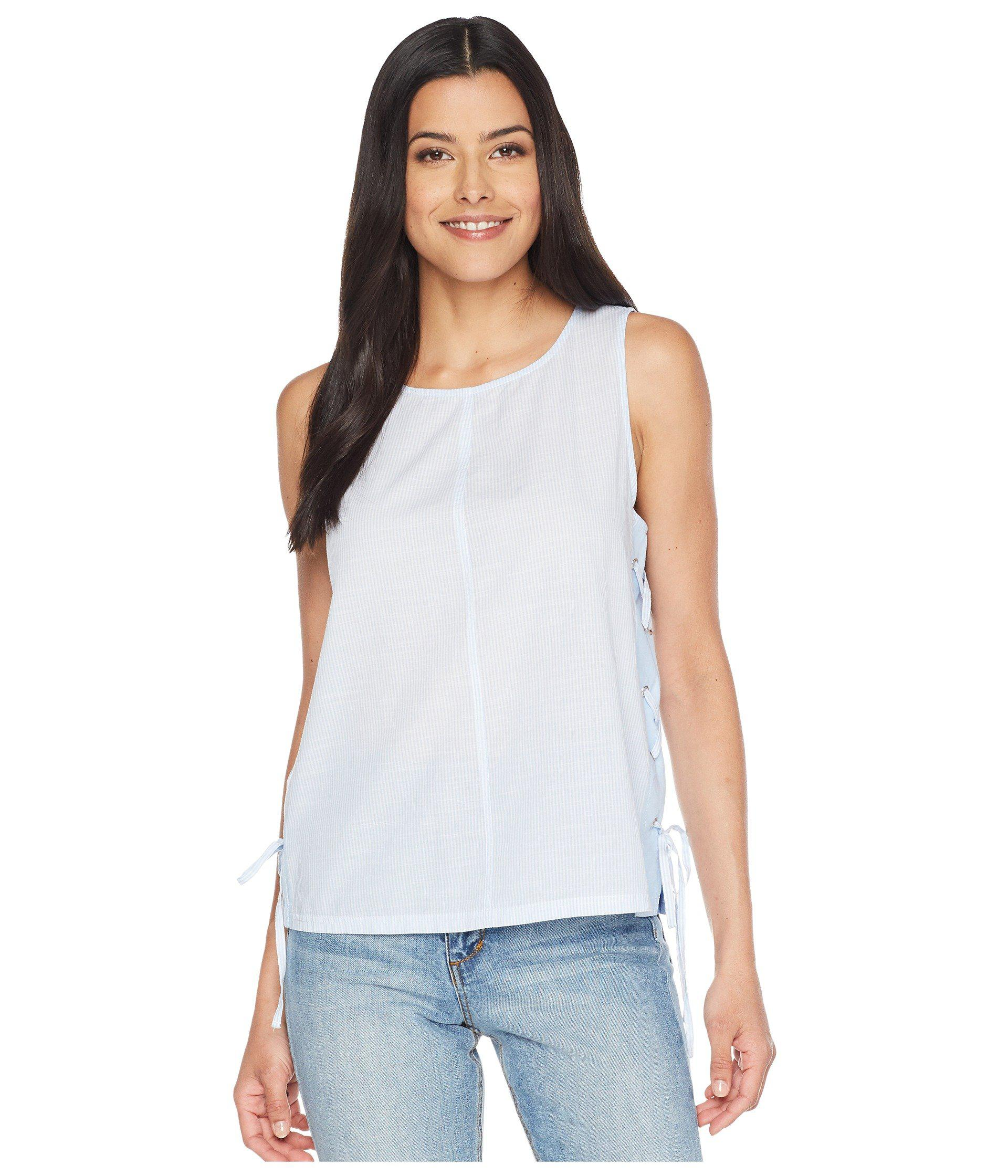 c732bc075fee02 Two By Vince Camuto - Blue Sleeveless Slub Stripe Side Lace-up Tank Top -.  View fullscreen