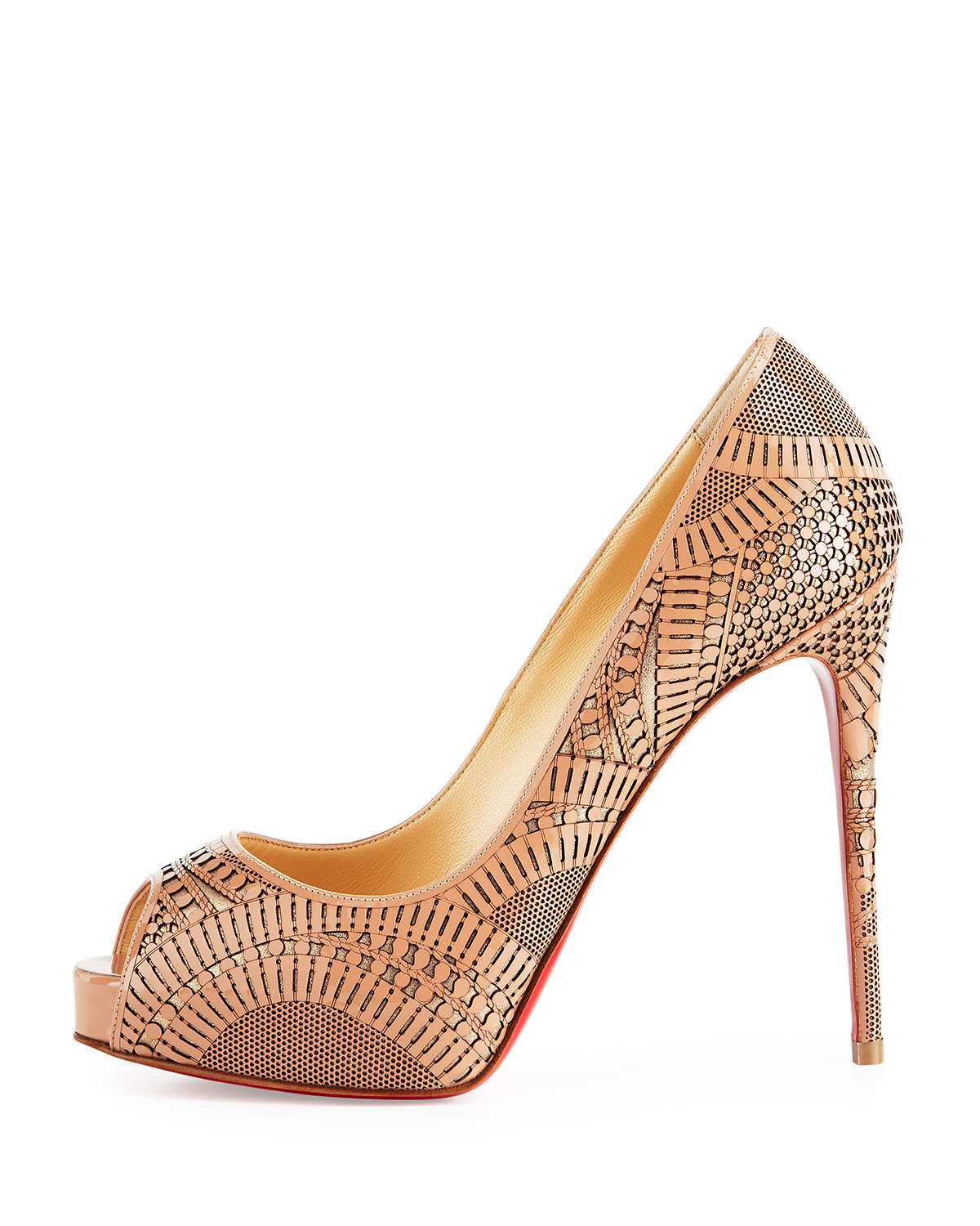 us replica cl shoes - Christian louboutin Suellena Laser-Cut Leather Pumps in Beige ...