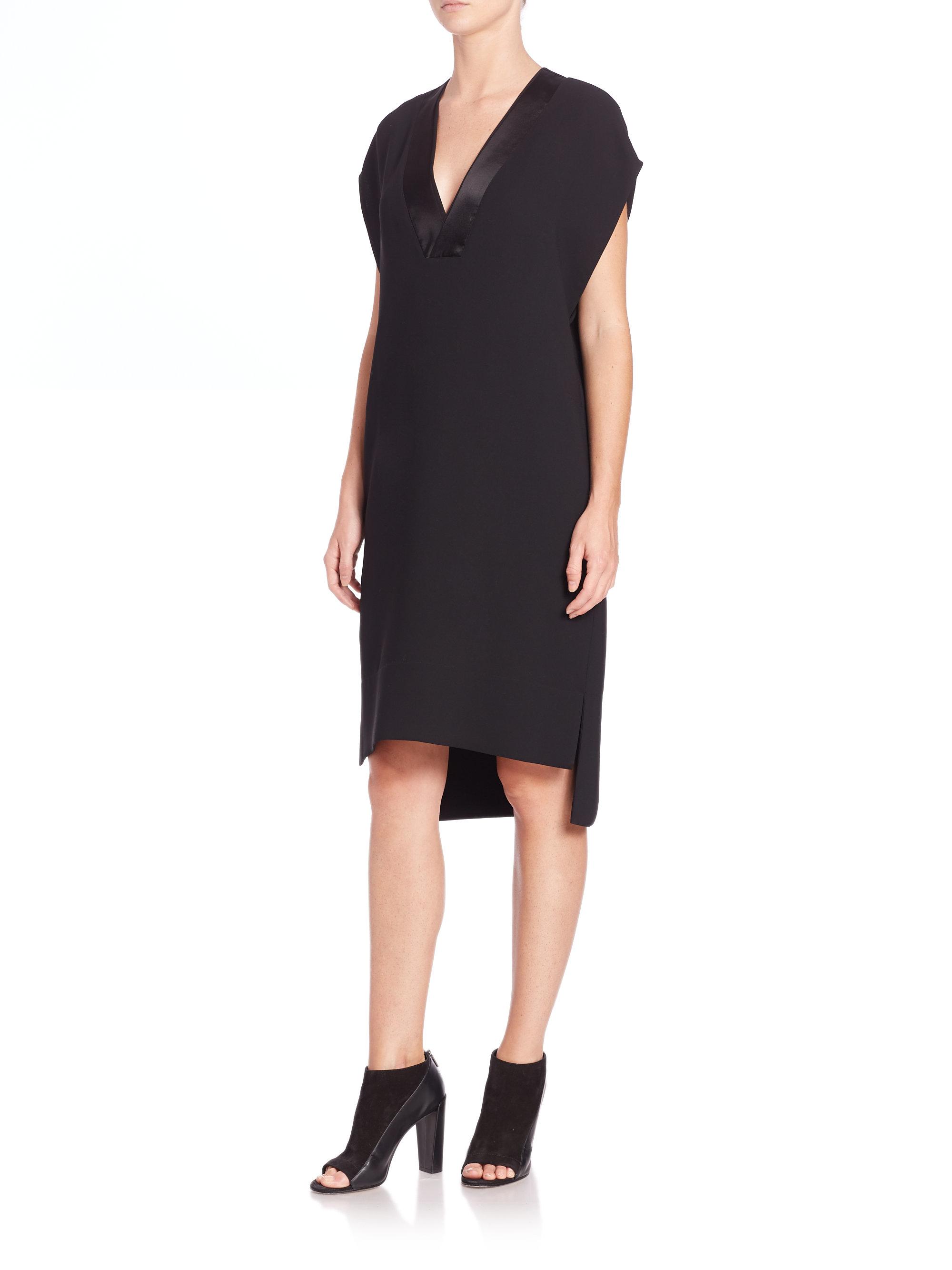 Lyst Vince Satin Trimmed V Neck Shift Dress In Black