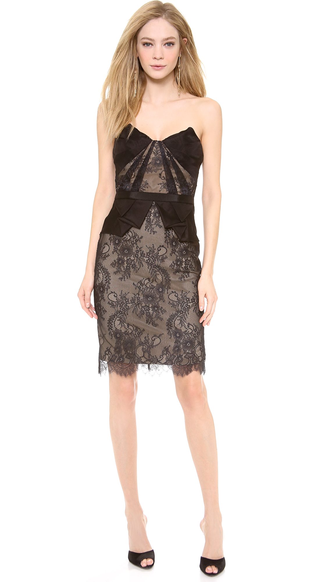 Notte By Marchesa Strapless Lace Cocktail Dress In Black