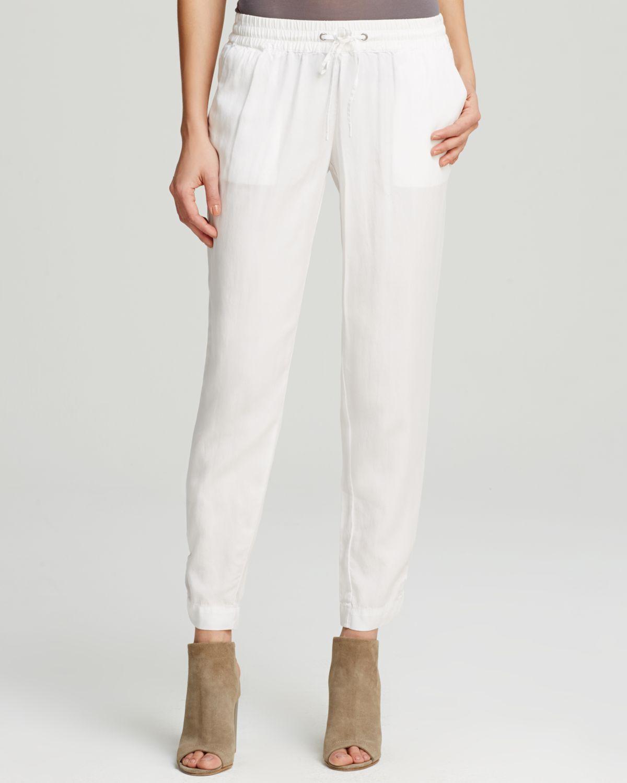 Moon & meadow Tencel® Lyocell Drawstring Pants in White | Lyst
